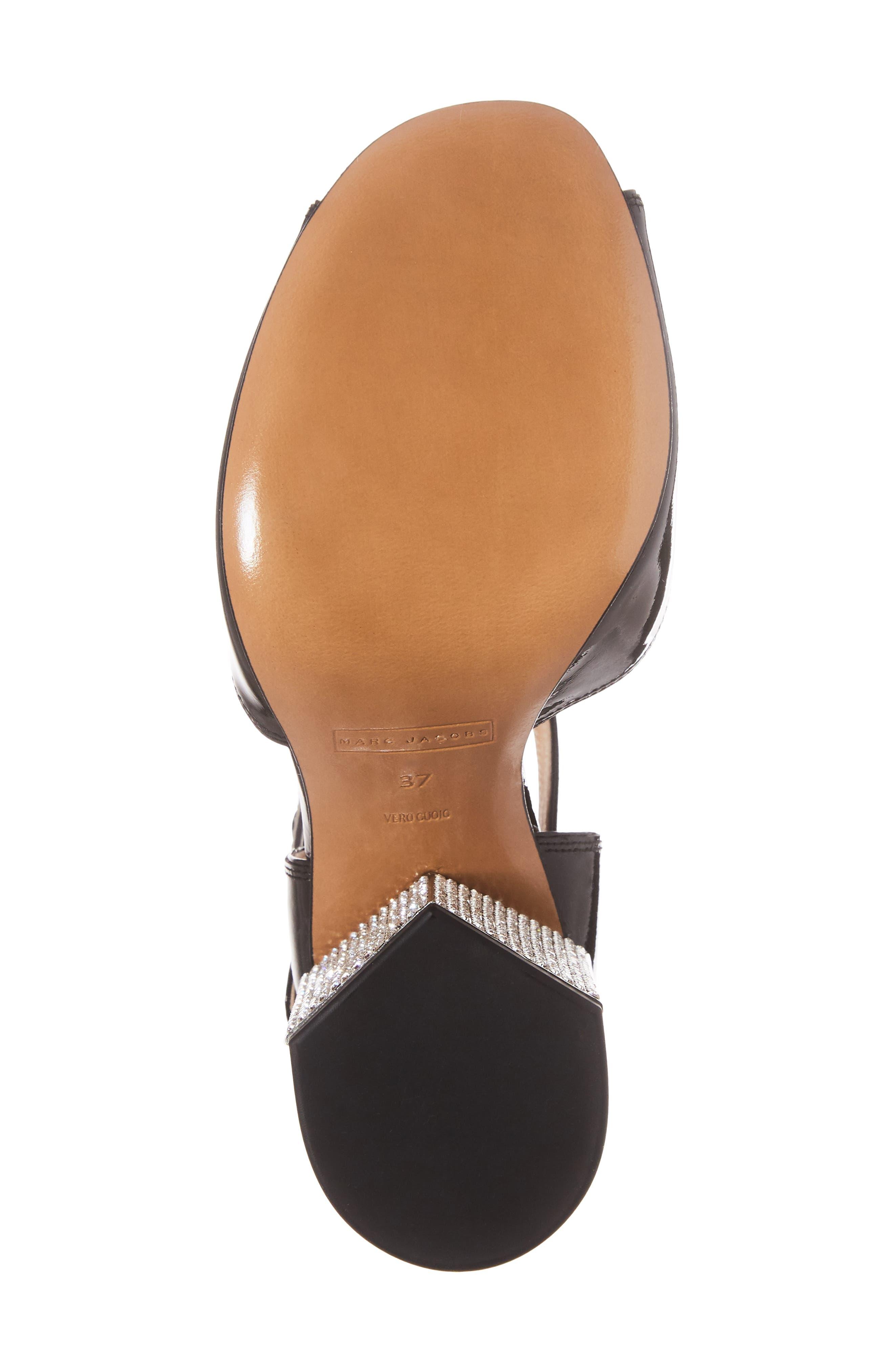 Kasia Embellished Ankle Strap Sandal,                             Alternate thumbnail 6, color,                             Black