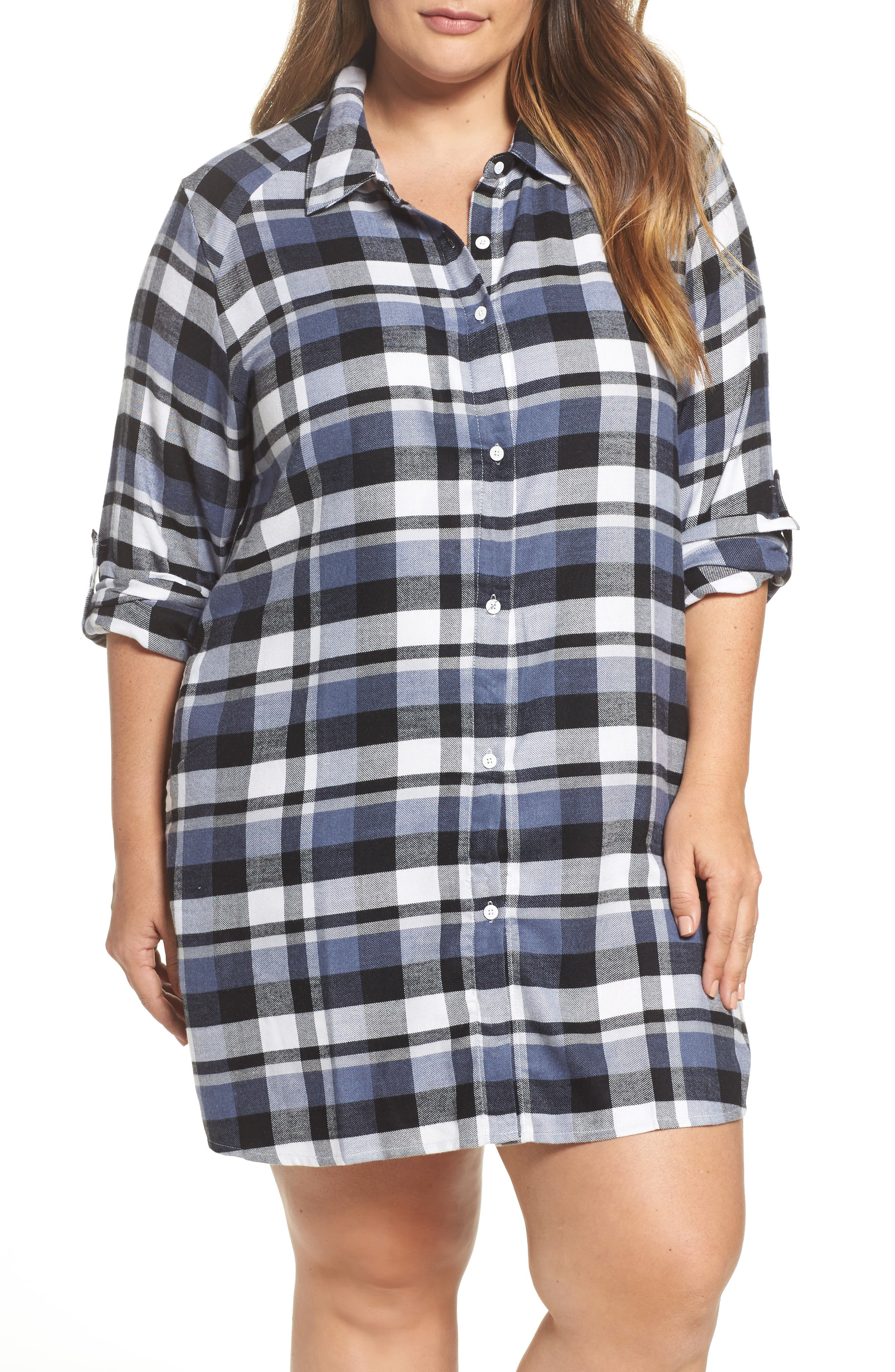 Alternate Image 1 Selected - DKNY Plaid Sleep Shirt (Plus Size)