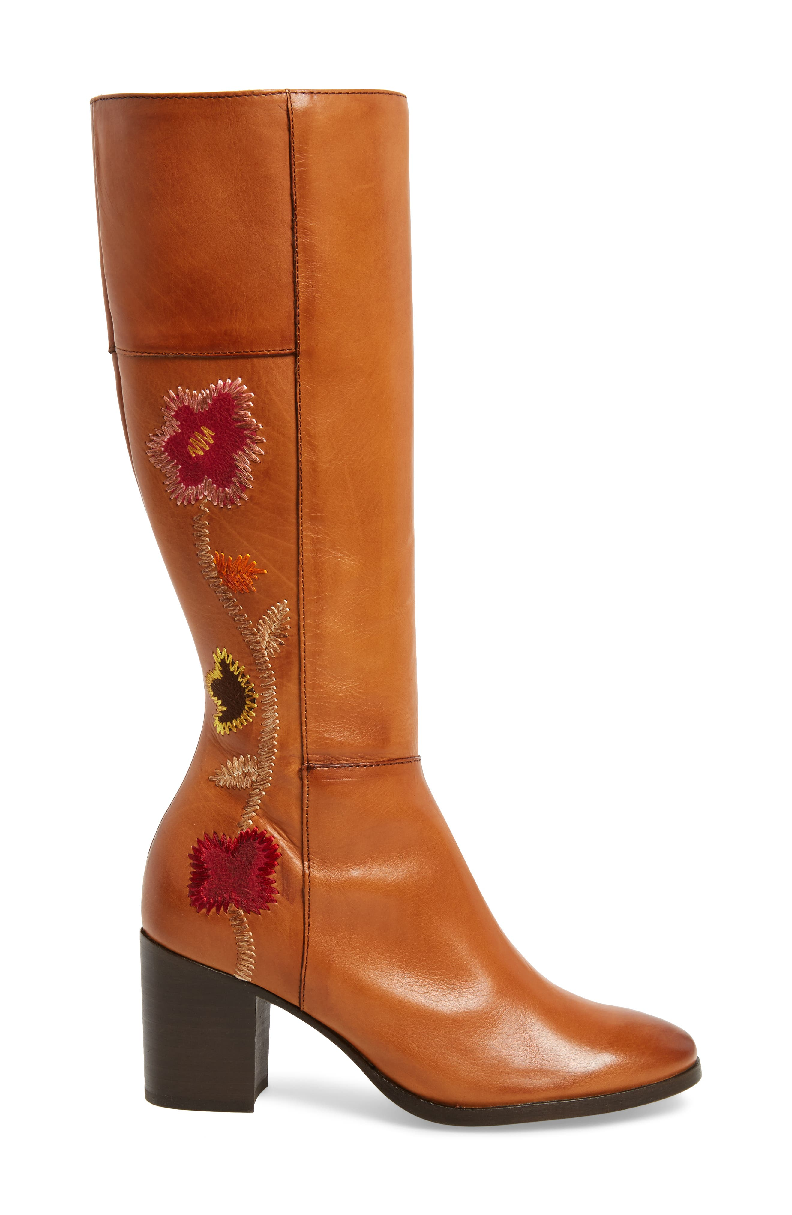 Nova Floral Embroidered Knee High Boot,                             Alternate thumbnail 3, color,                             Cognac Fabric