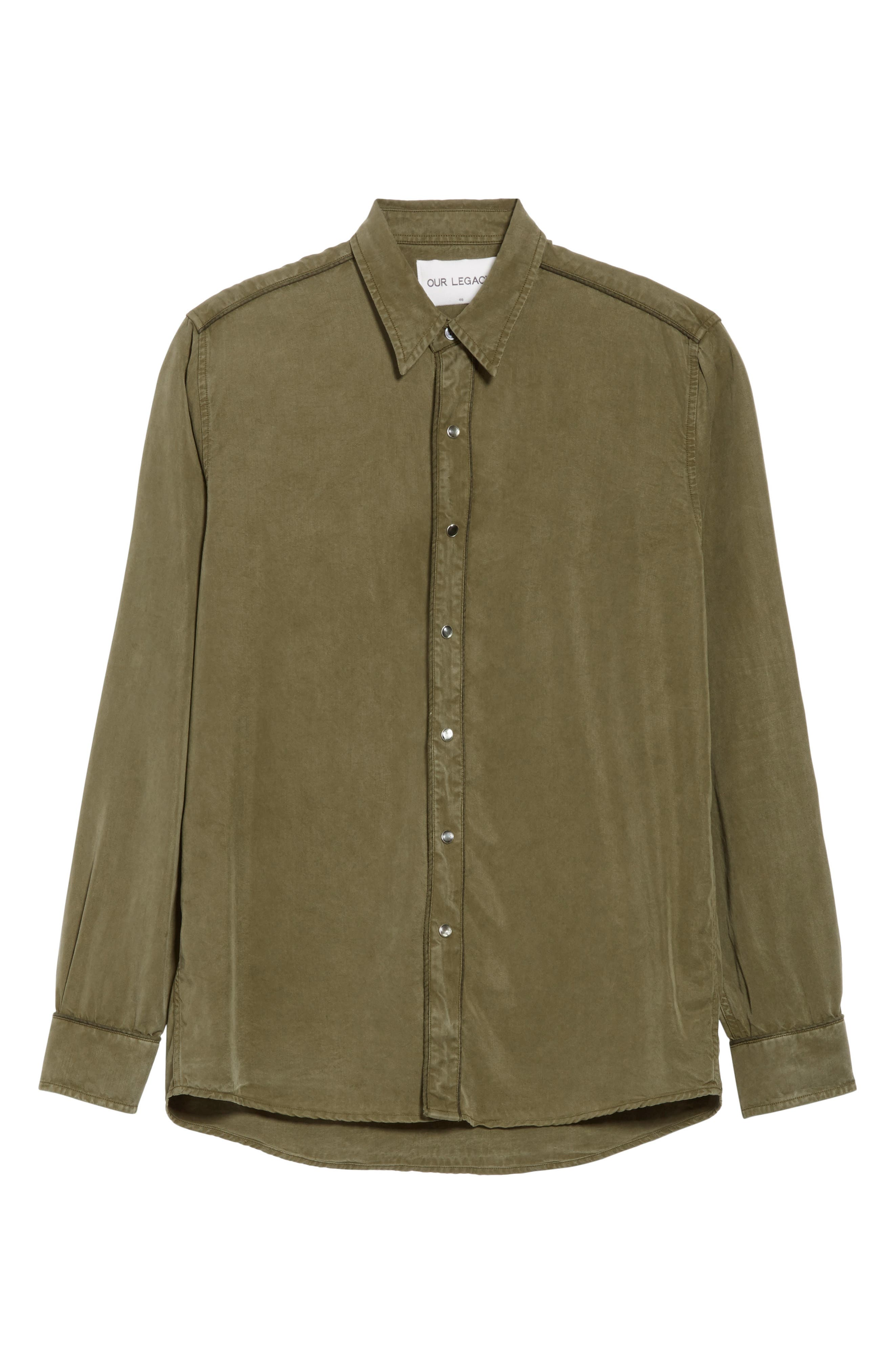 Lyocell Western Shirt,                             Alternate thumbnail 6, color,                             Green