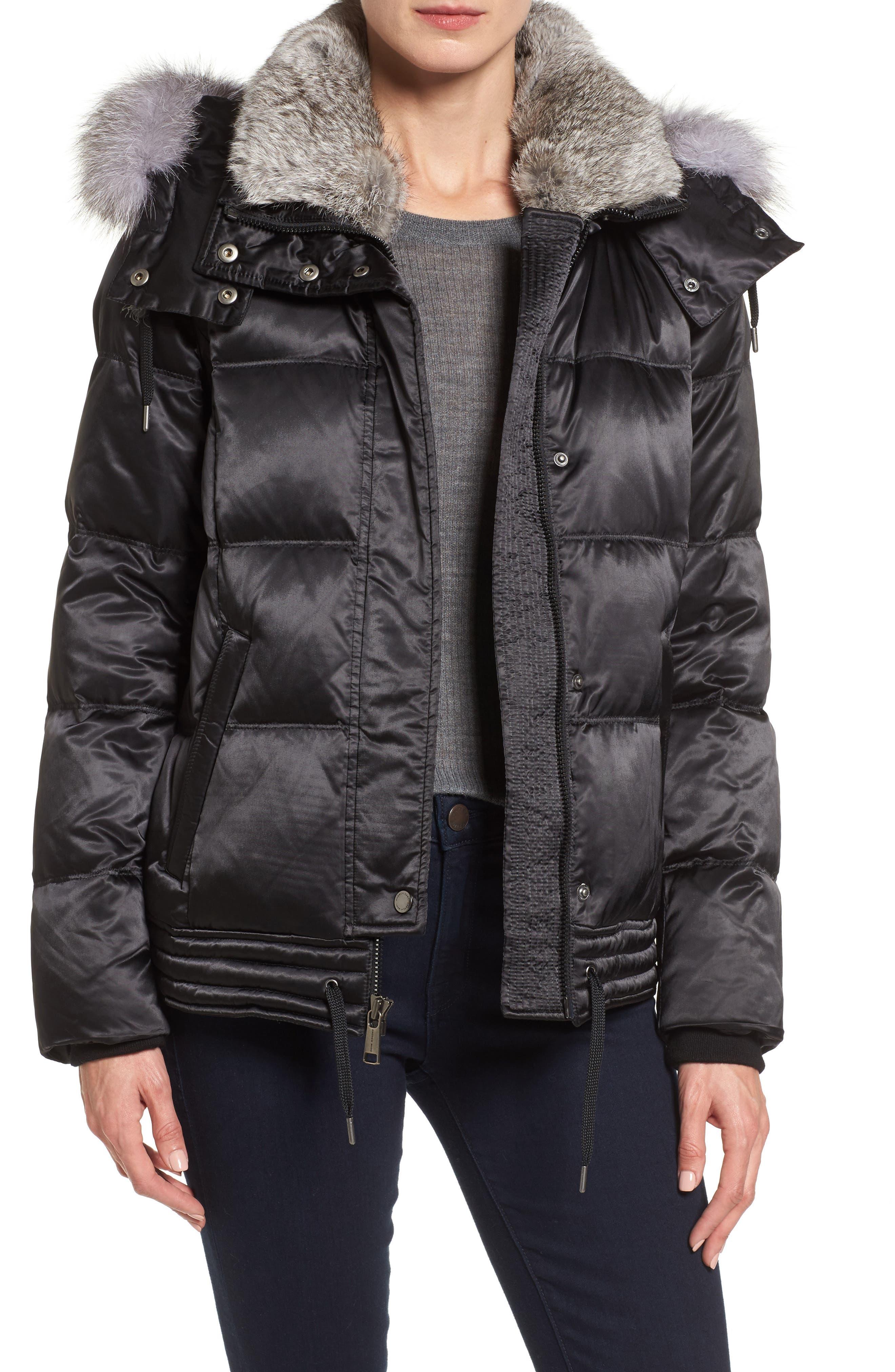 Convertible Down Coat with Genuine Rabbit Fur & Genuine Fox Fur,                             Main thumbnail 1, color,                             Black
