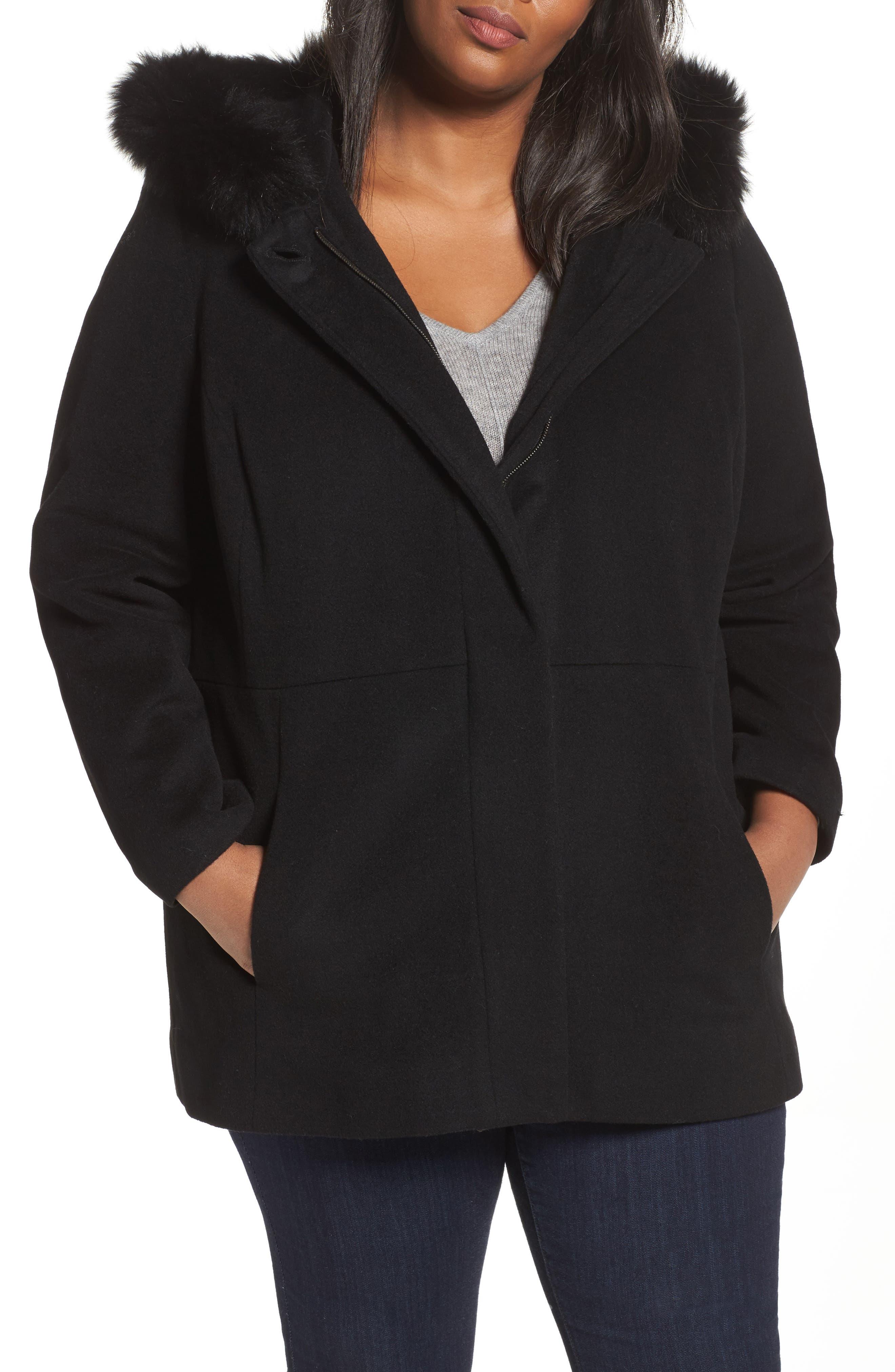 Alternate Image 4  - Sachi Genuine Fox Fur Trim Hooded Wool Blend Jacket (Plus Size)