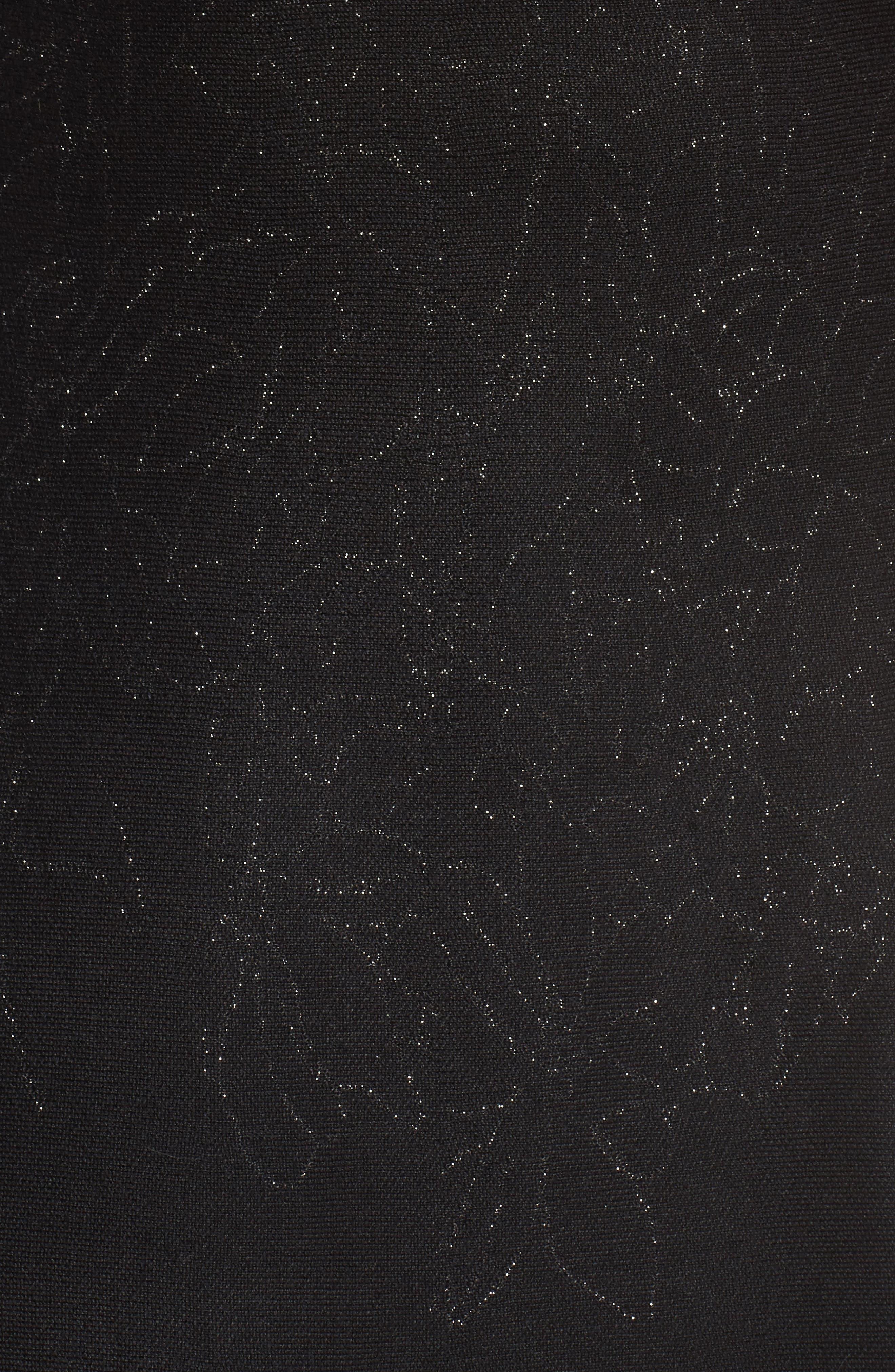 Metallic Knit Fit & Flare Dress,                             Alternate thumbnail 5, color,                             Black Silver