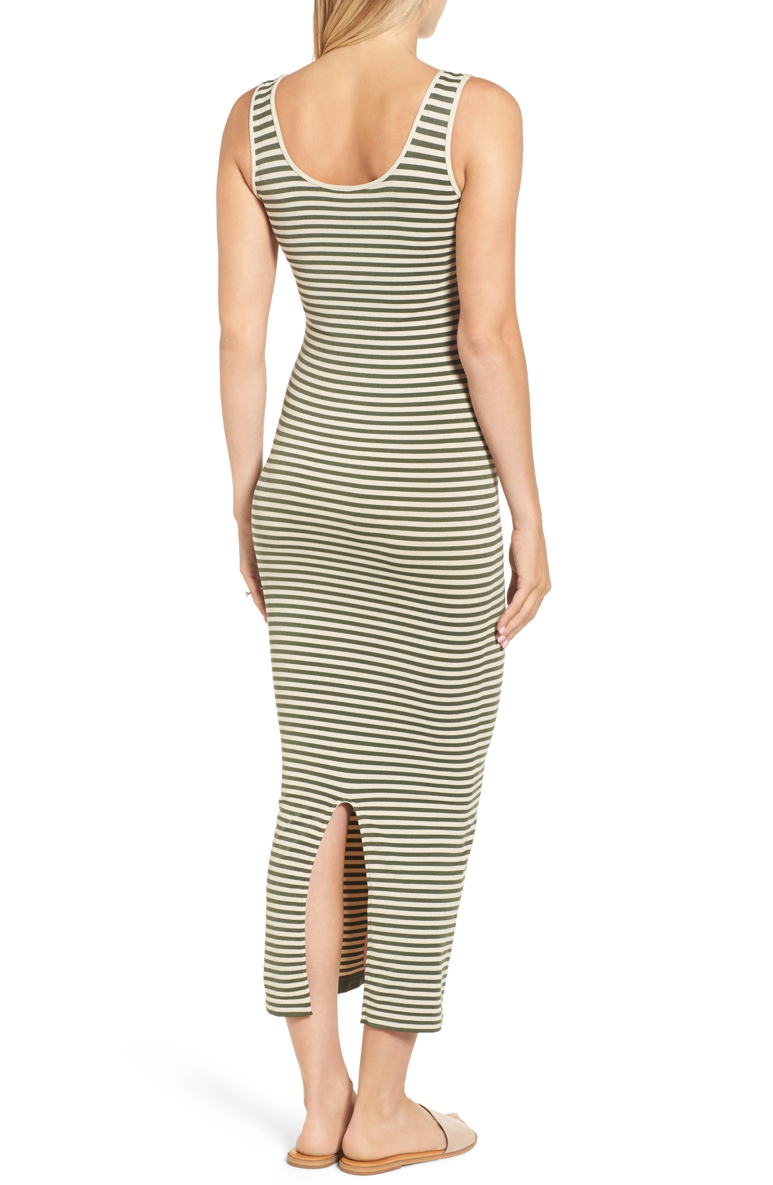 Micro Stripe Maternity Dress,                             Alternate thumbnail 2, color,                             Oatmeal/ Olive