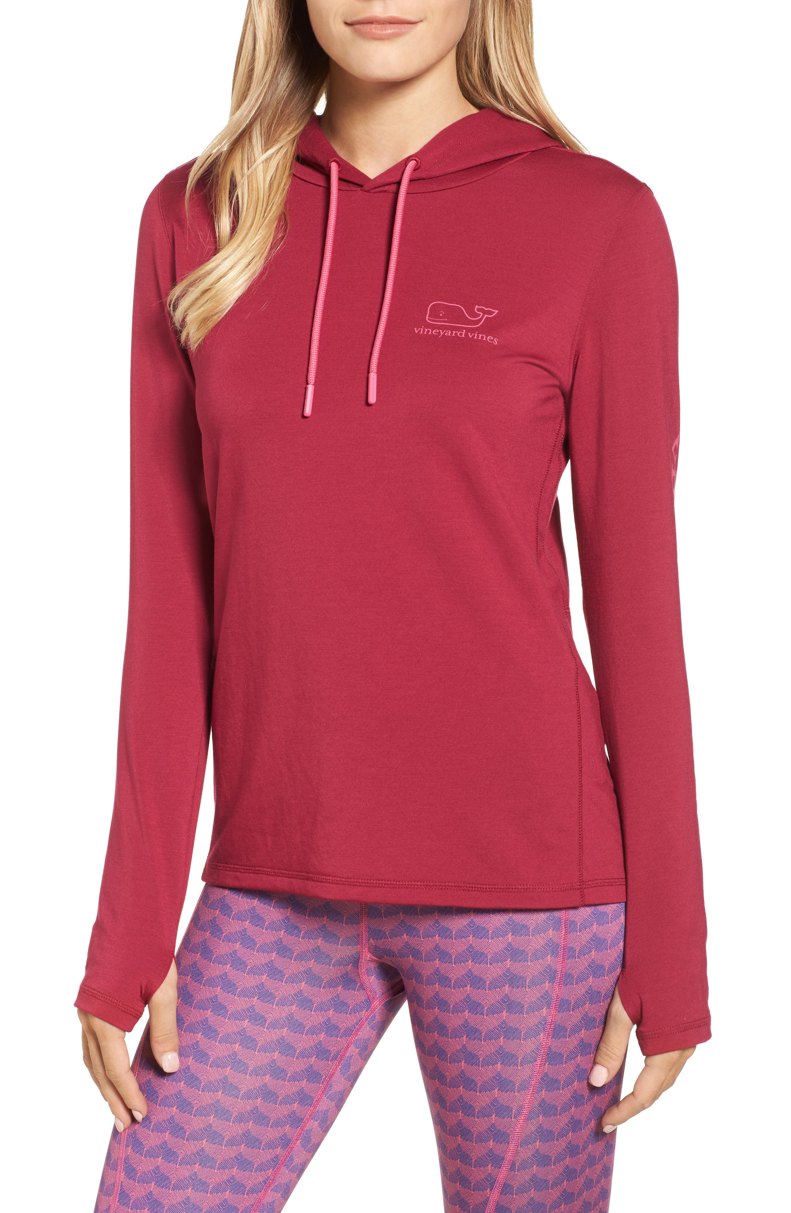 Whale Tail Hooded Tee,                             Main thumbnail 1, color,                             Beet Red