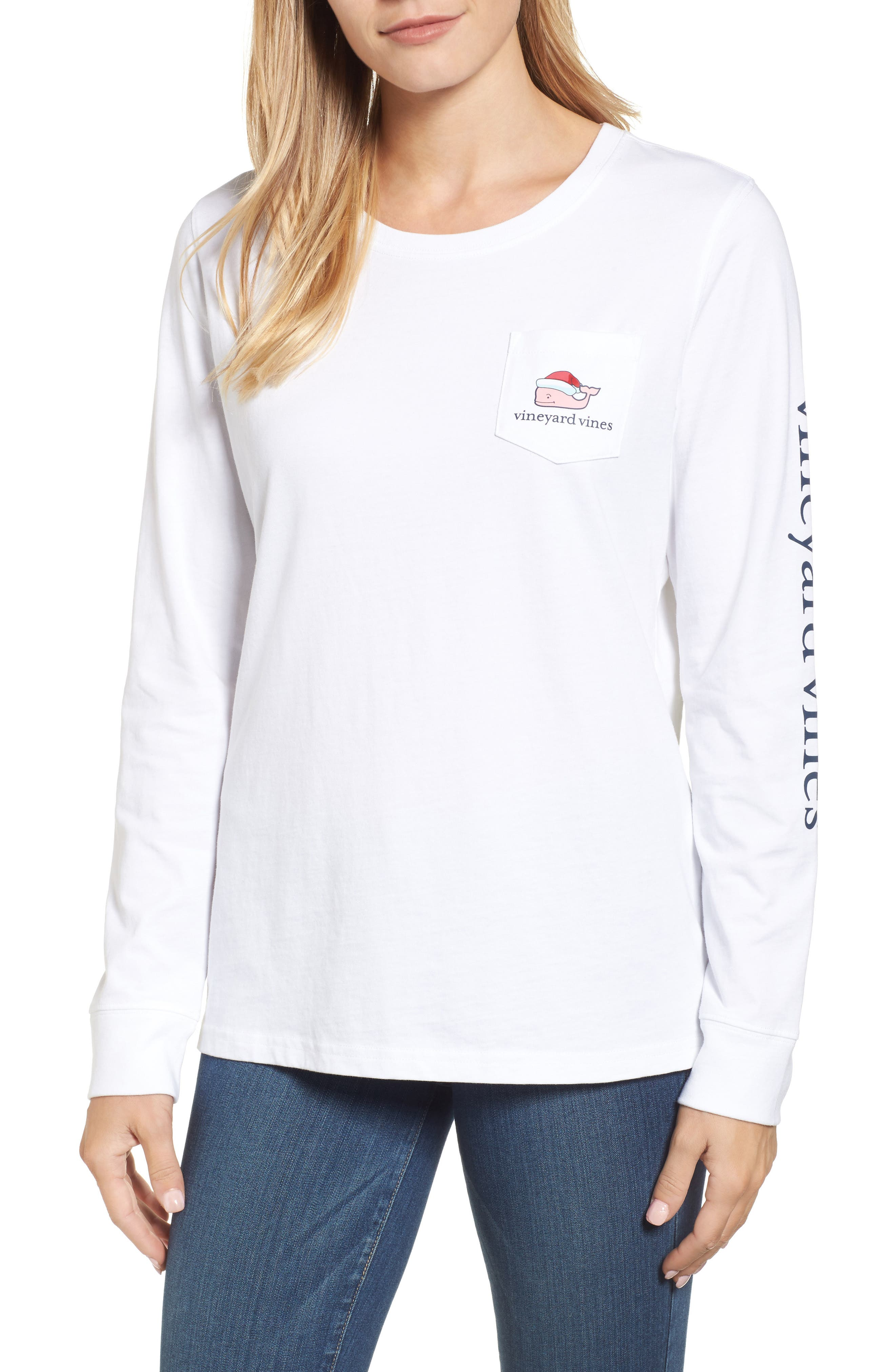 vineyard vines Santa Whale Pocket Tee