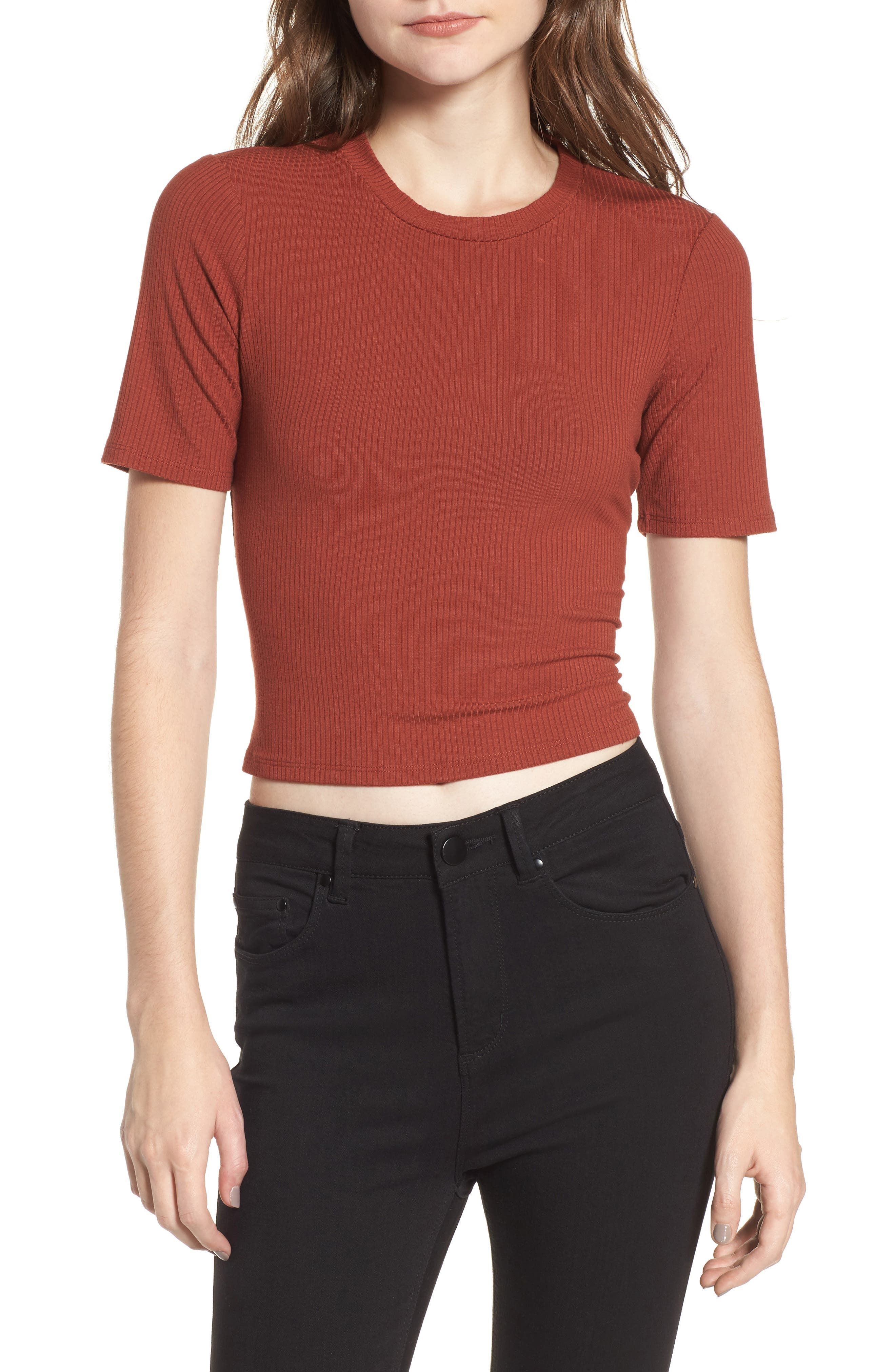 Main Image - AFRM Lace Back Ribbed Crop Top