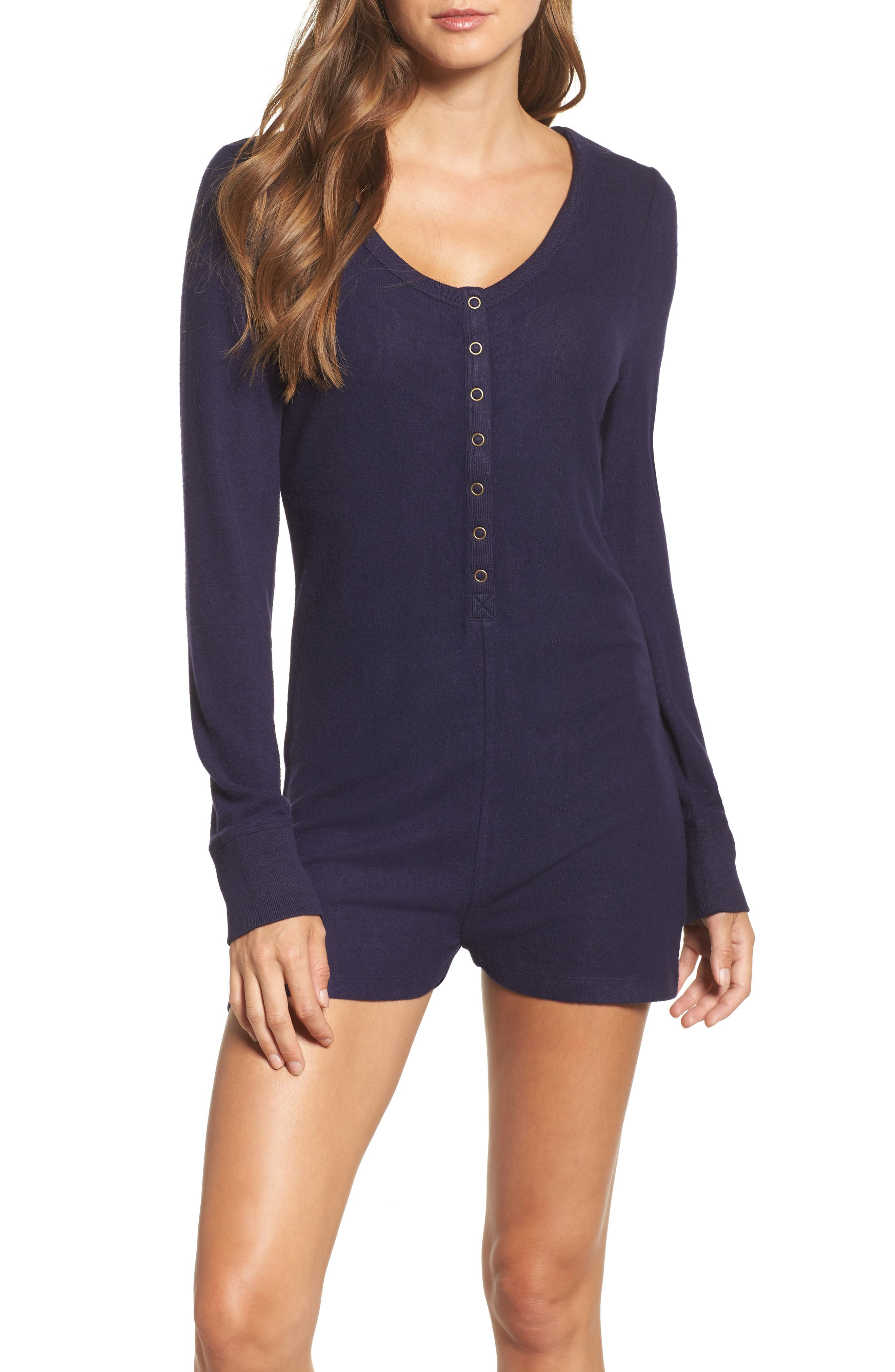 Cozy Lounge Romper,                         Main,                         color, Navy Dusk Marl