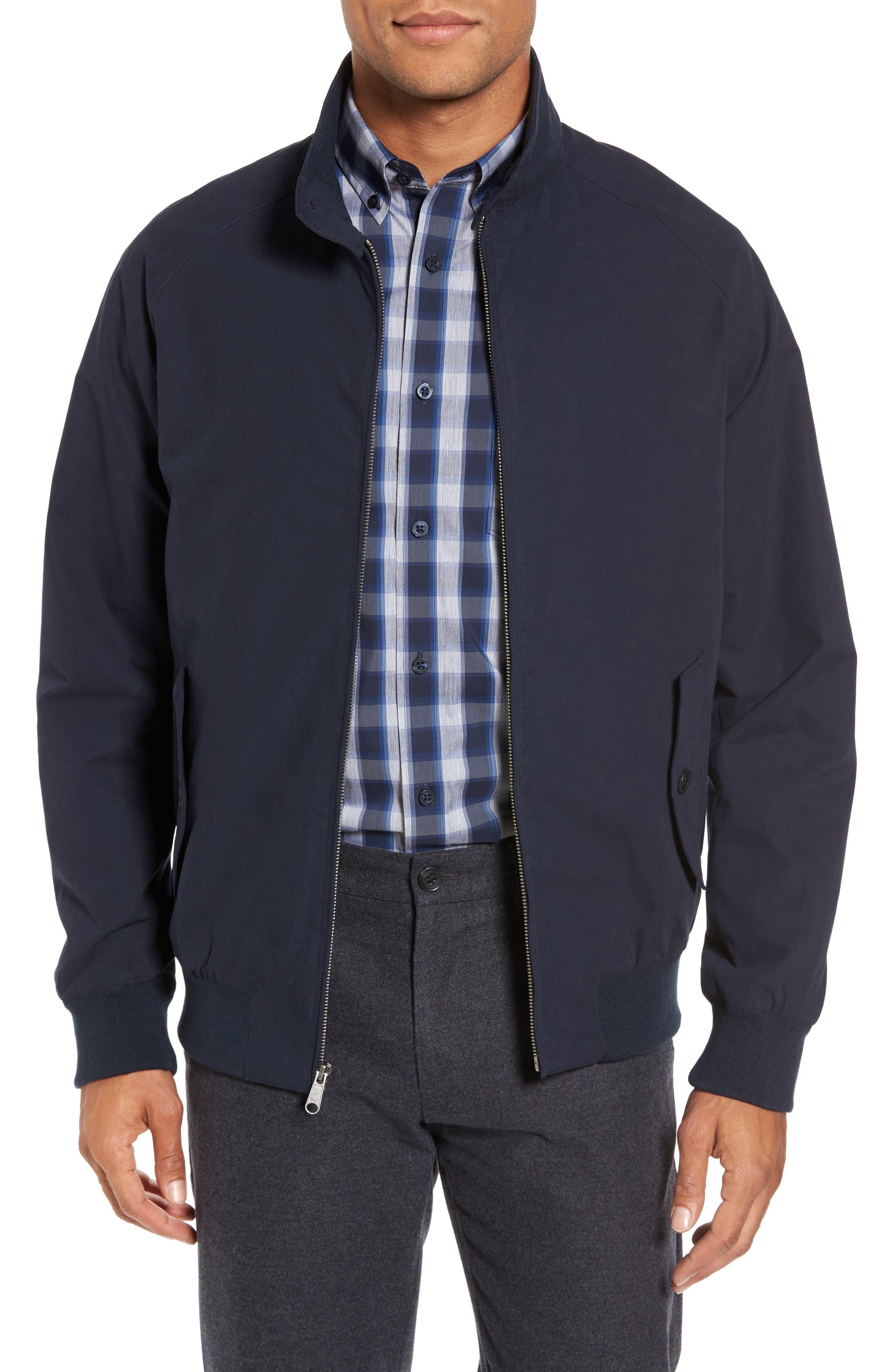 Harrington Bomber Jacket,                         Main,                         color, Navy Captain