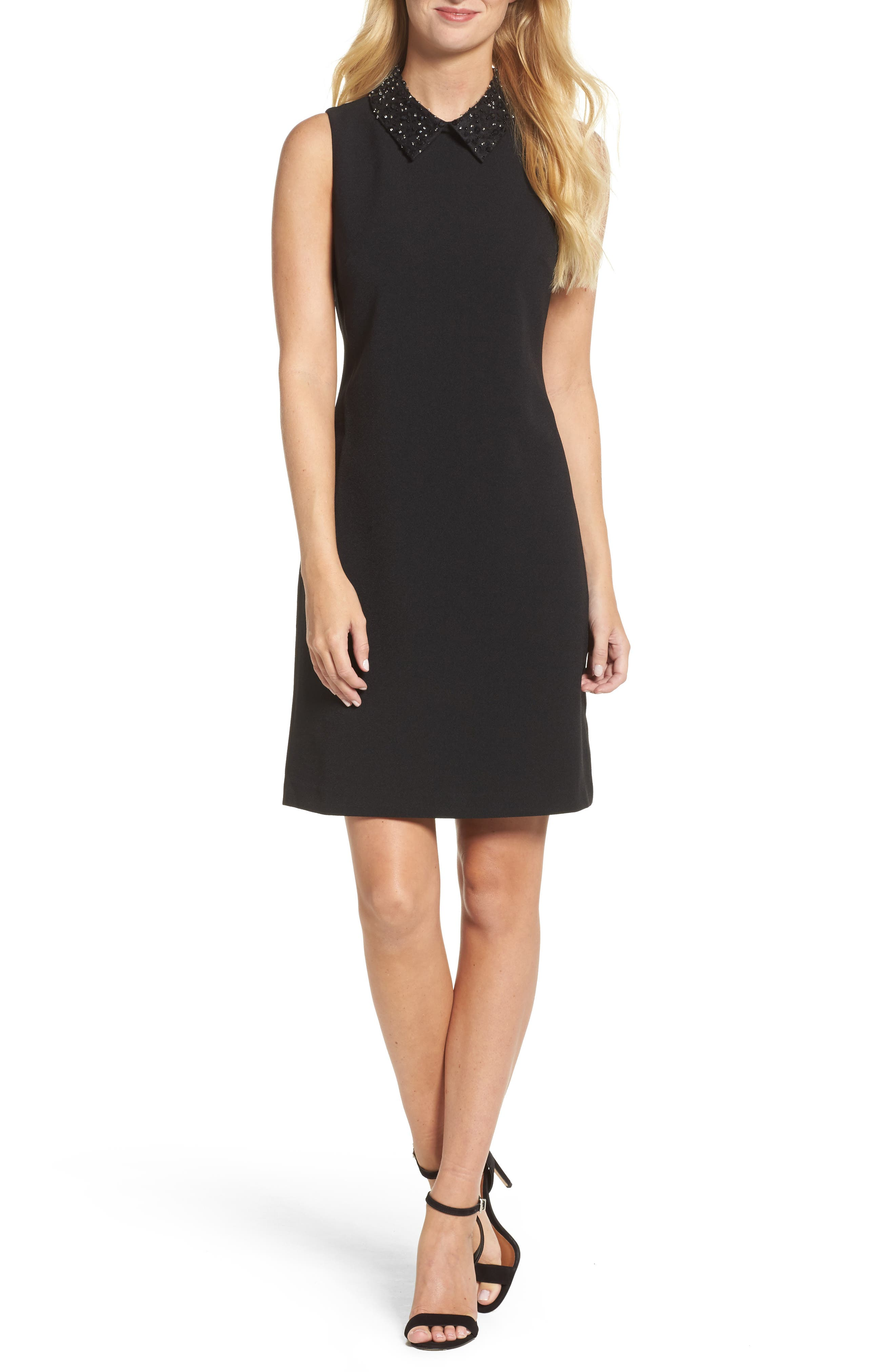 Jeweled Collar A-Line Dress,                         Main,                         color, Black