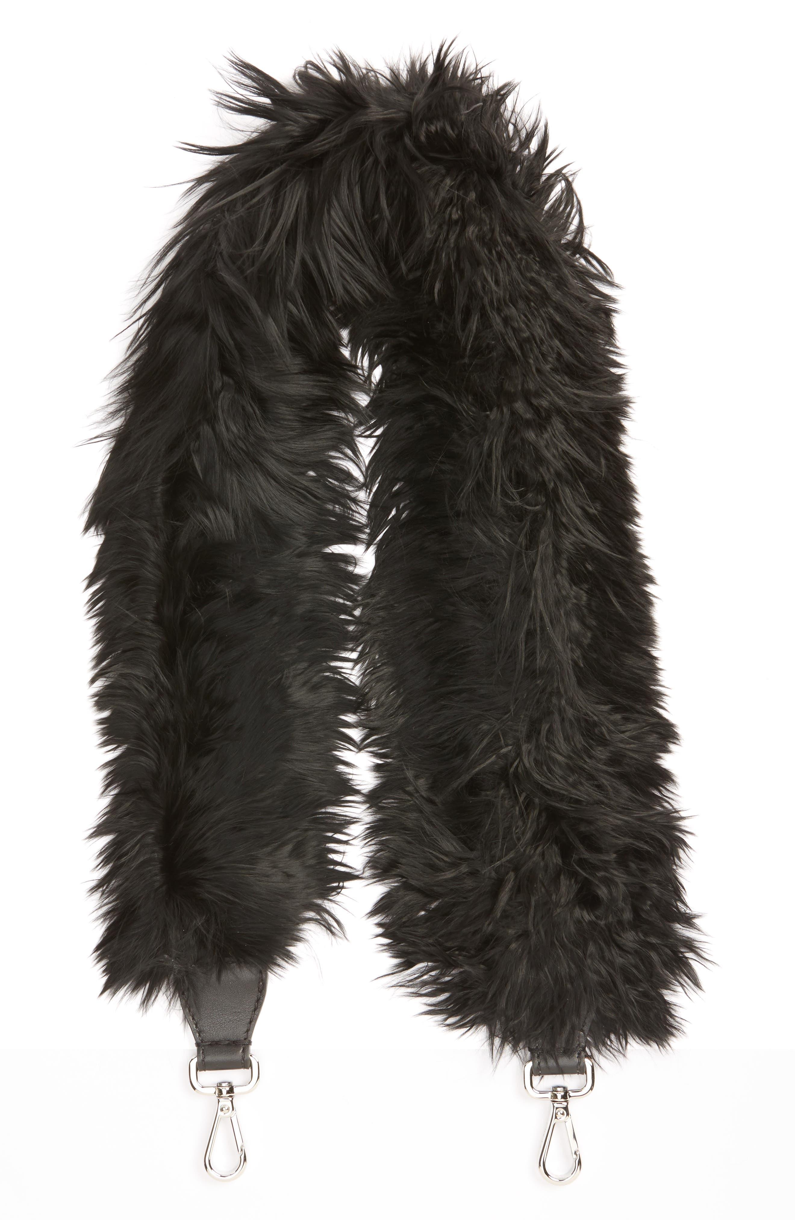 Genuine Alpaca Fur Guitar Strap,                             Main thumbnail 1, color,                             Black
