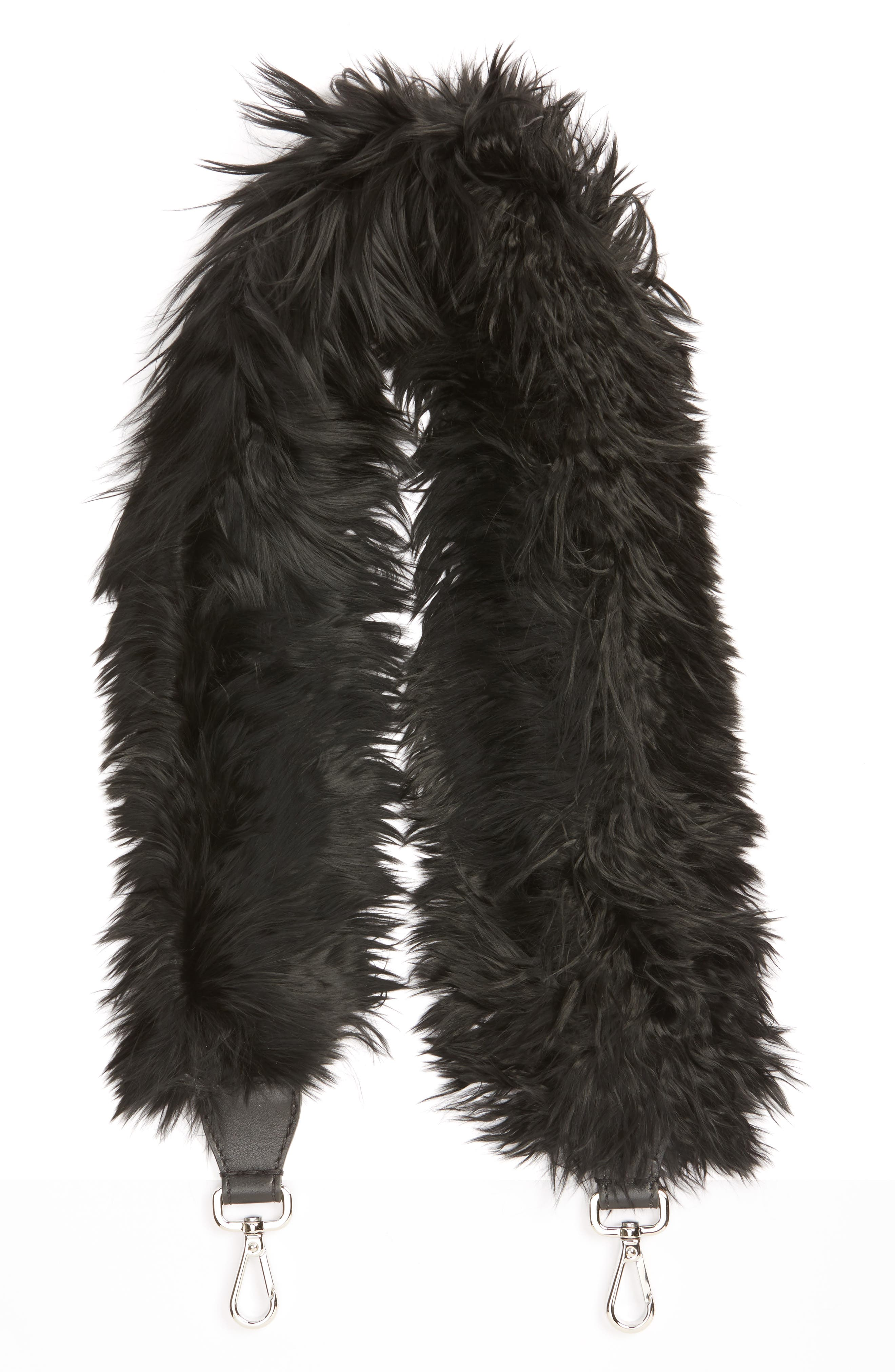 Genuine Alpaca Fur Guitar Strap,                         Main,                         color, Black