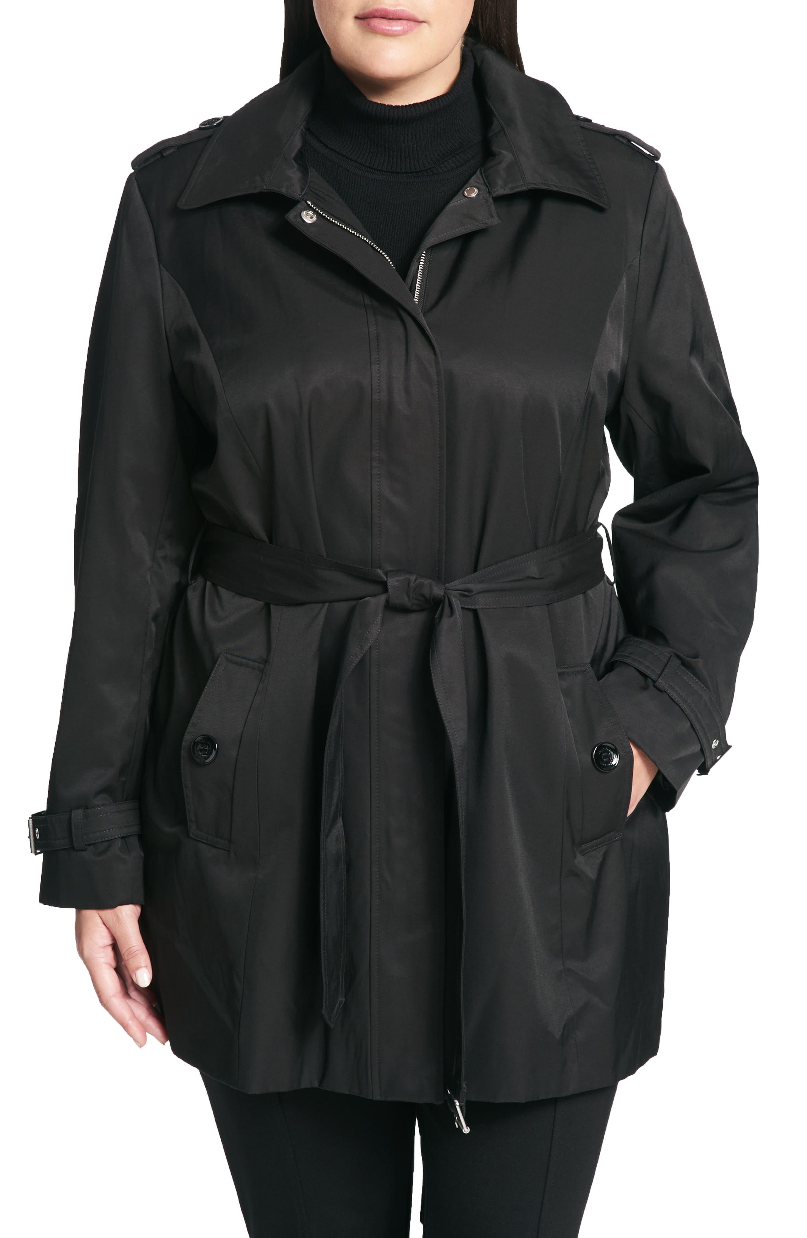 Calvin Klein Poplin Trench Coat (Plus Size)