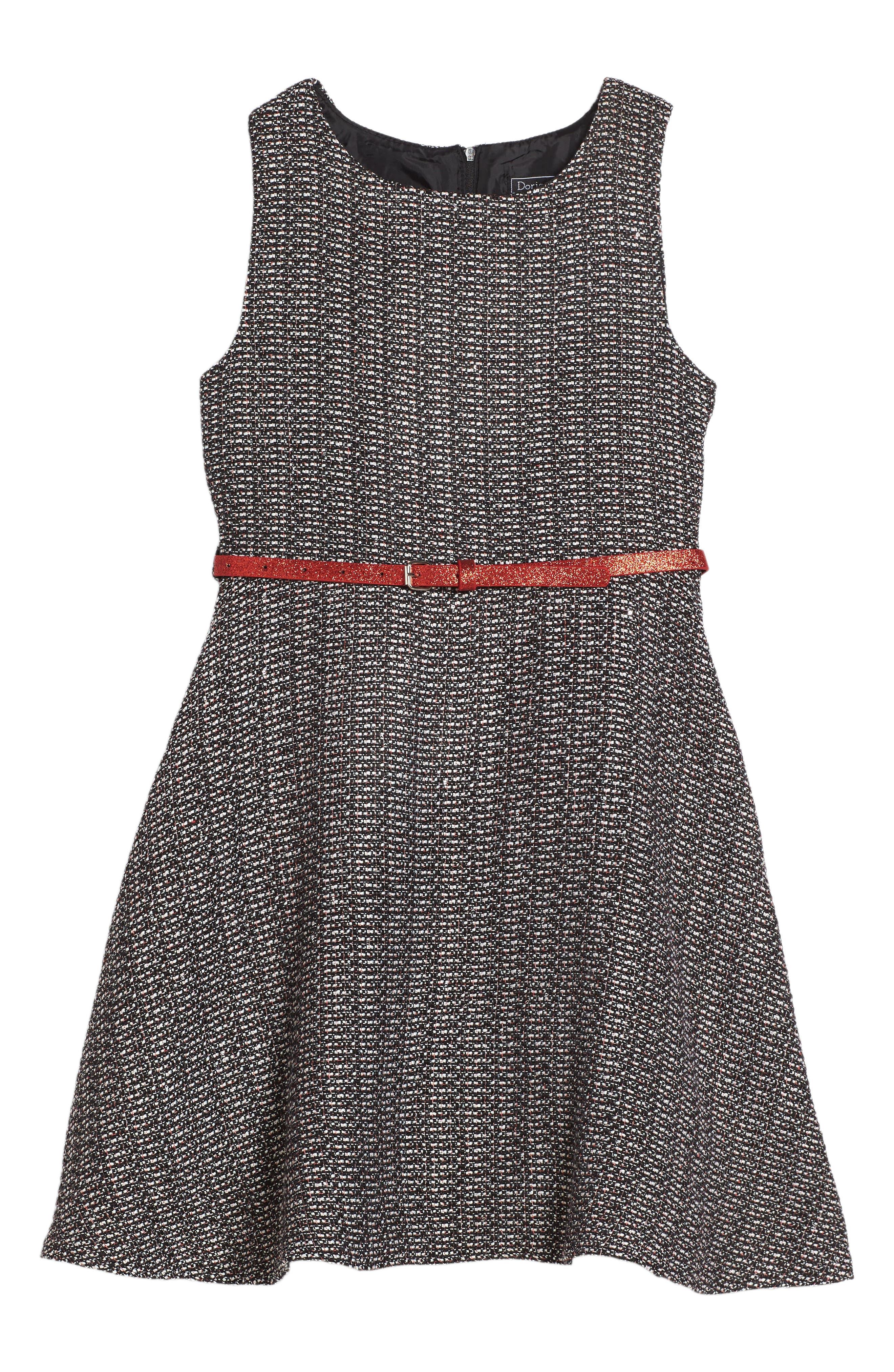 Ella Tweed Dress,                         Main,                         color, Grey