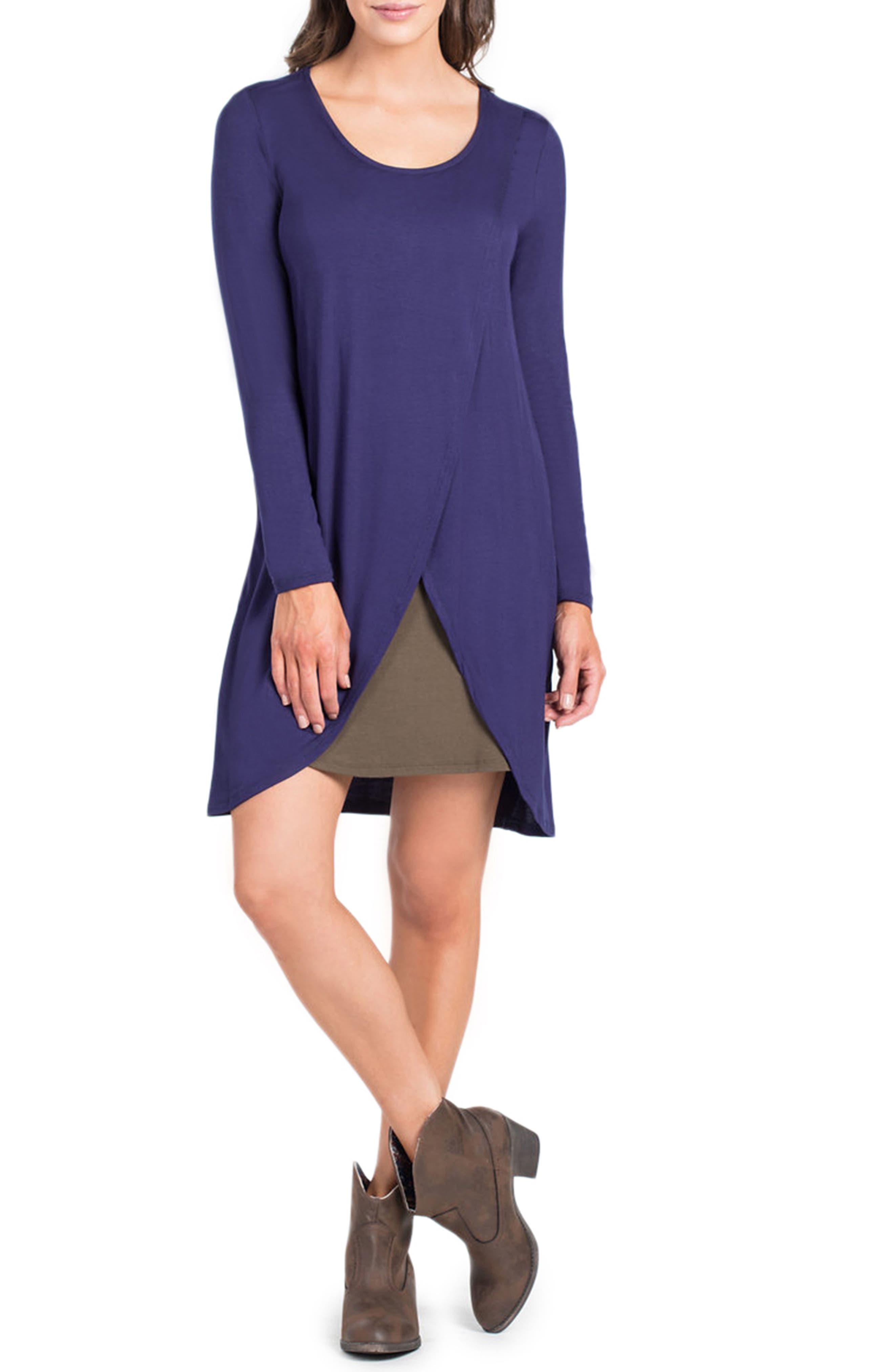 Lenox Crossover Front Maternity/Nursing Dress,                             Main thumbnail 1, color,                             Navy/ Olive