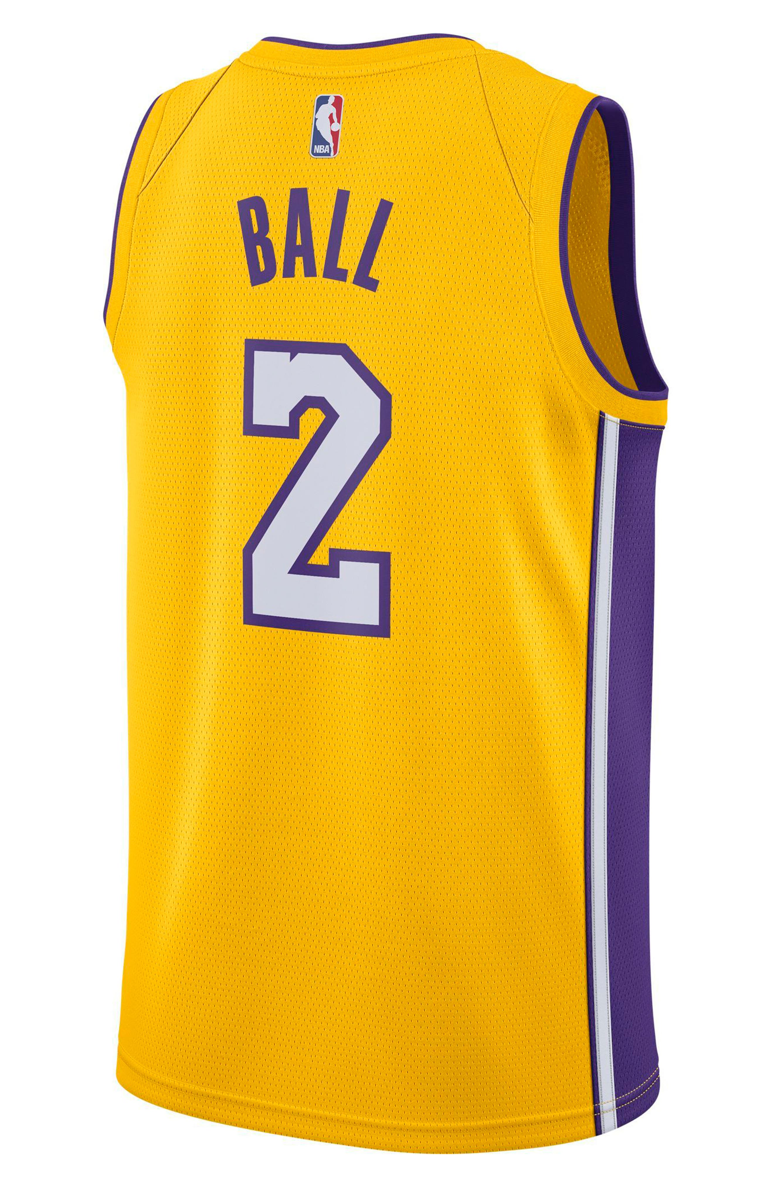 Los Angeles Lakers Nike Association Edition Swingman Men's NBA Jersey,                             Alternate thumbnail 2, color,                             Amarillo/ White