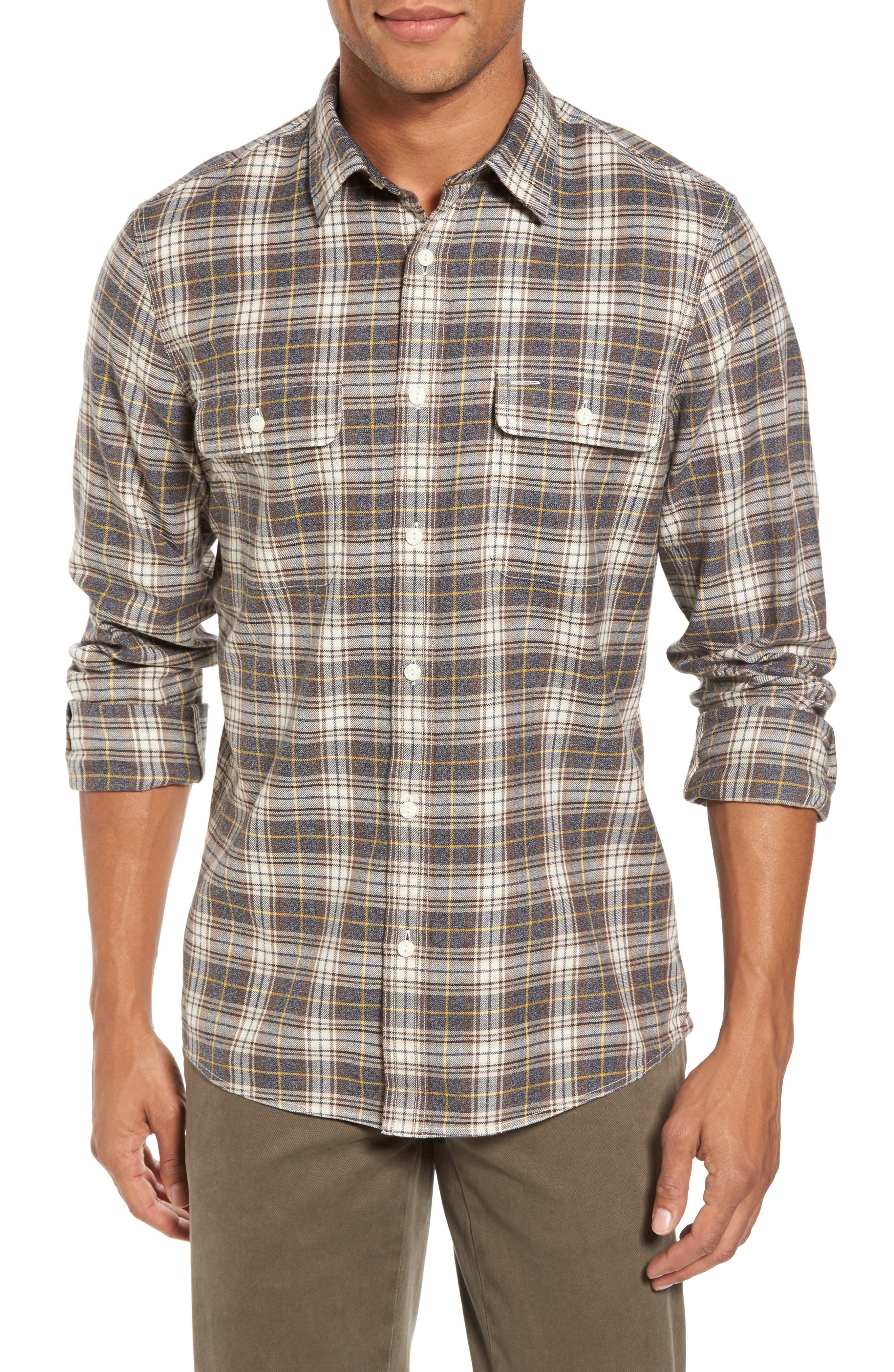 Nordstrom Men's Shop Trim Fit Trucker Plaid Flannel Shirt