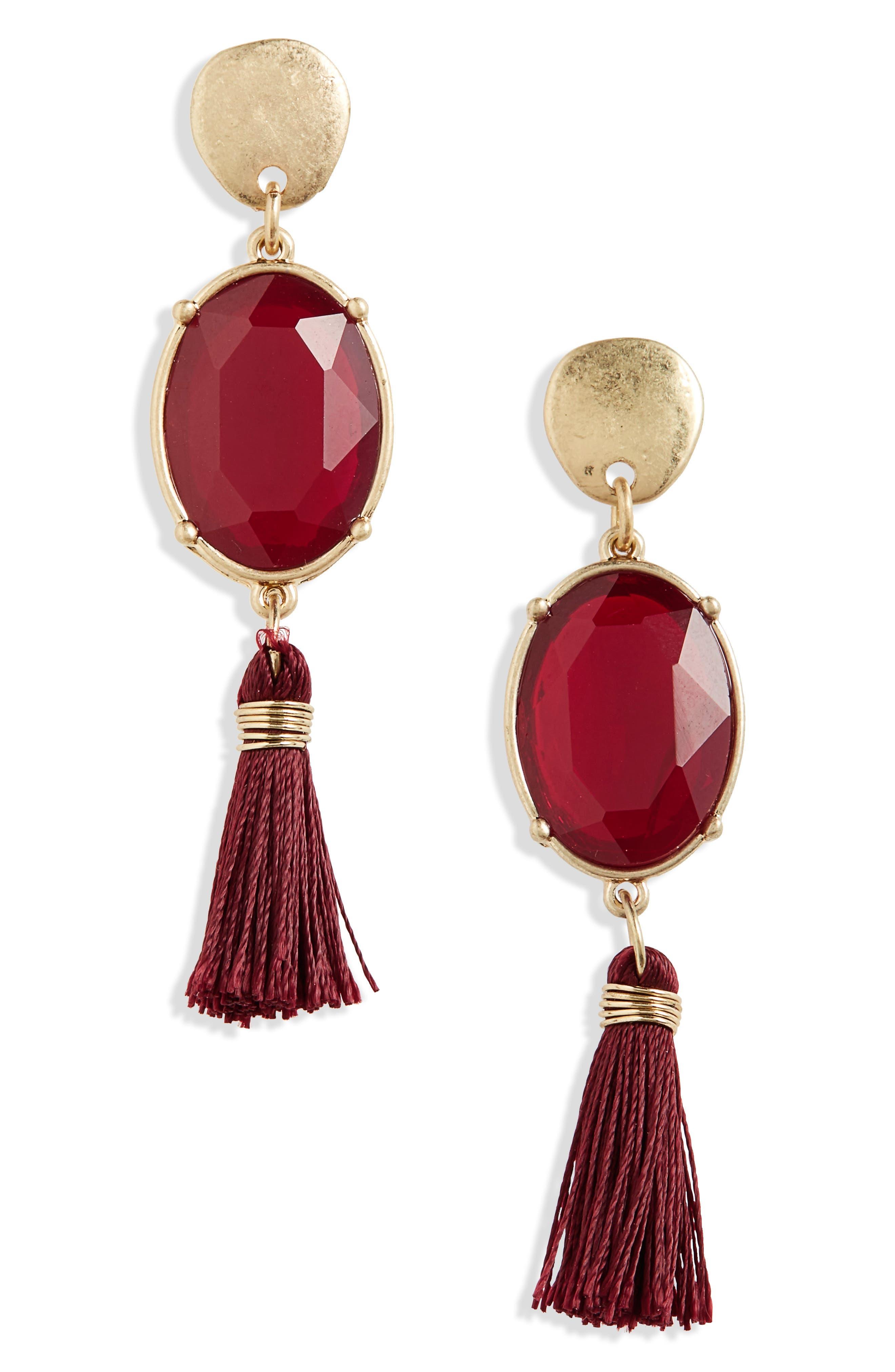 Canvas Crystal Tassel Earrings