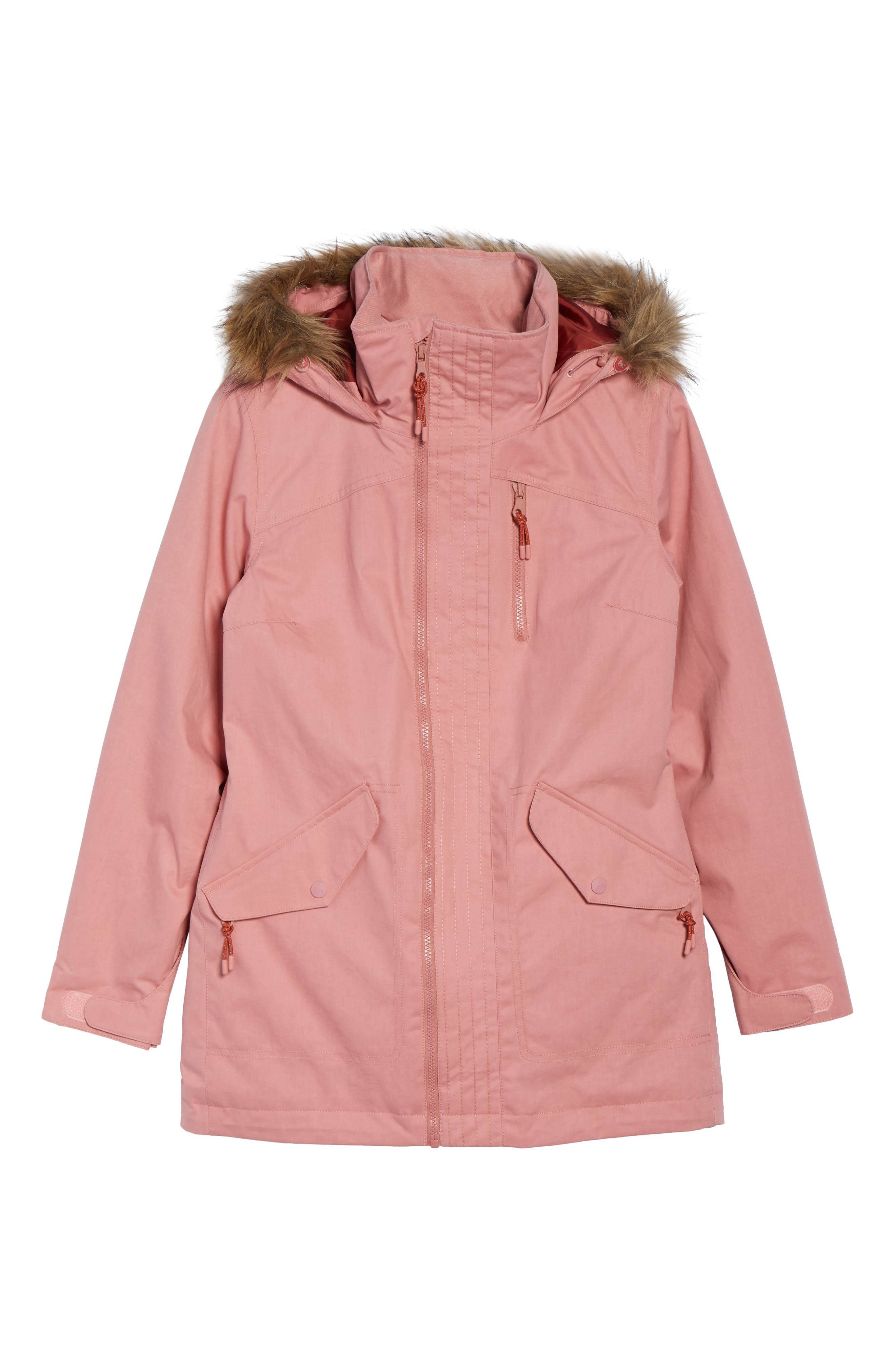 Hazel Waterproof Hooded Jacket with Removable Faux Fur Trim,                             Alternate thumbnail 6, color,                             Dusty Rose Wax