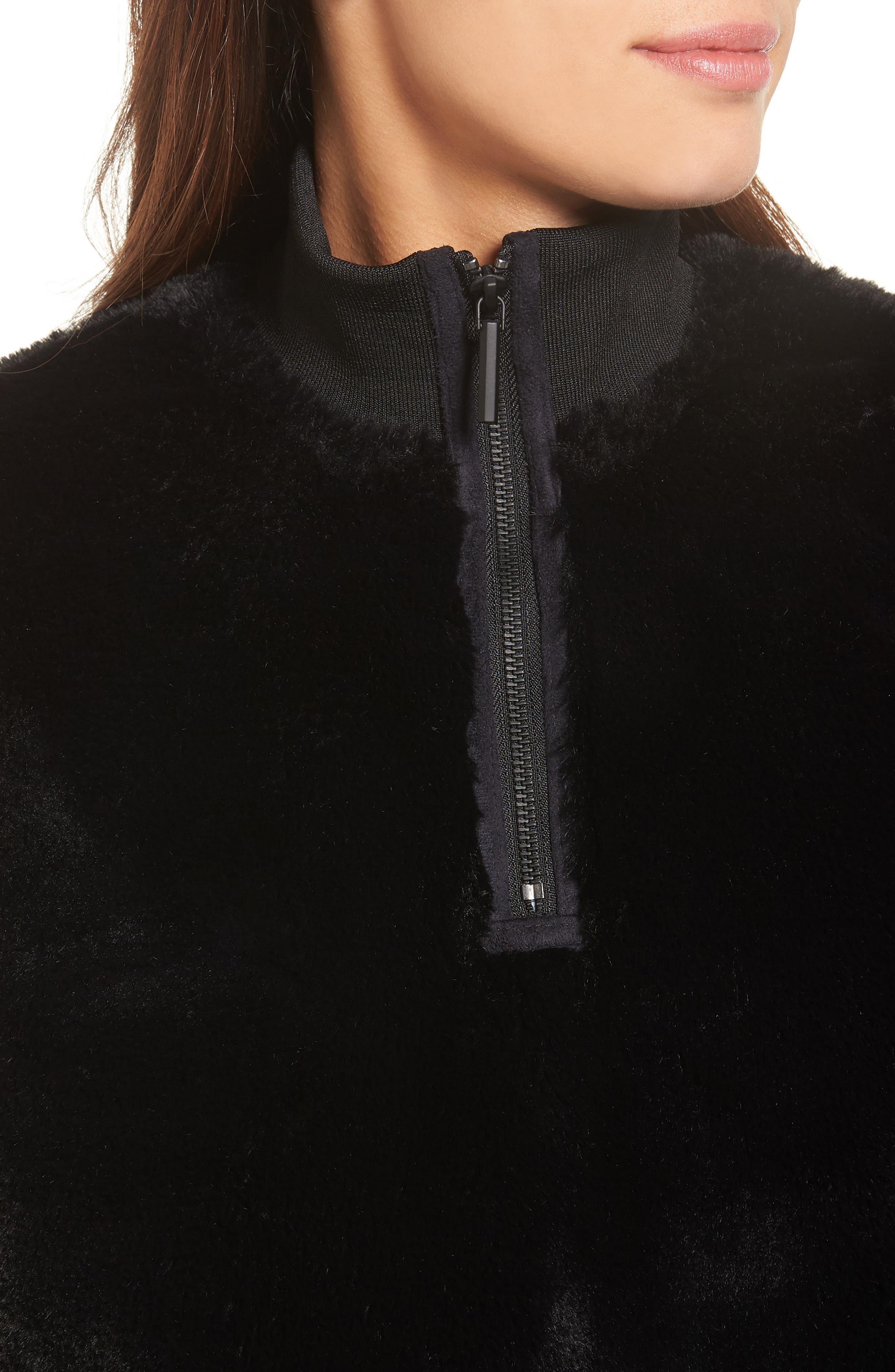 Half-Zip Faux Fur Sweatshirt,                             Alternate thumbnail 4, color,                             Black