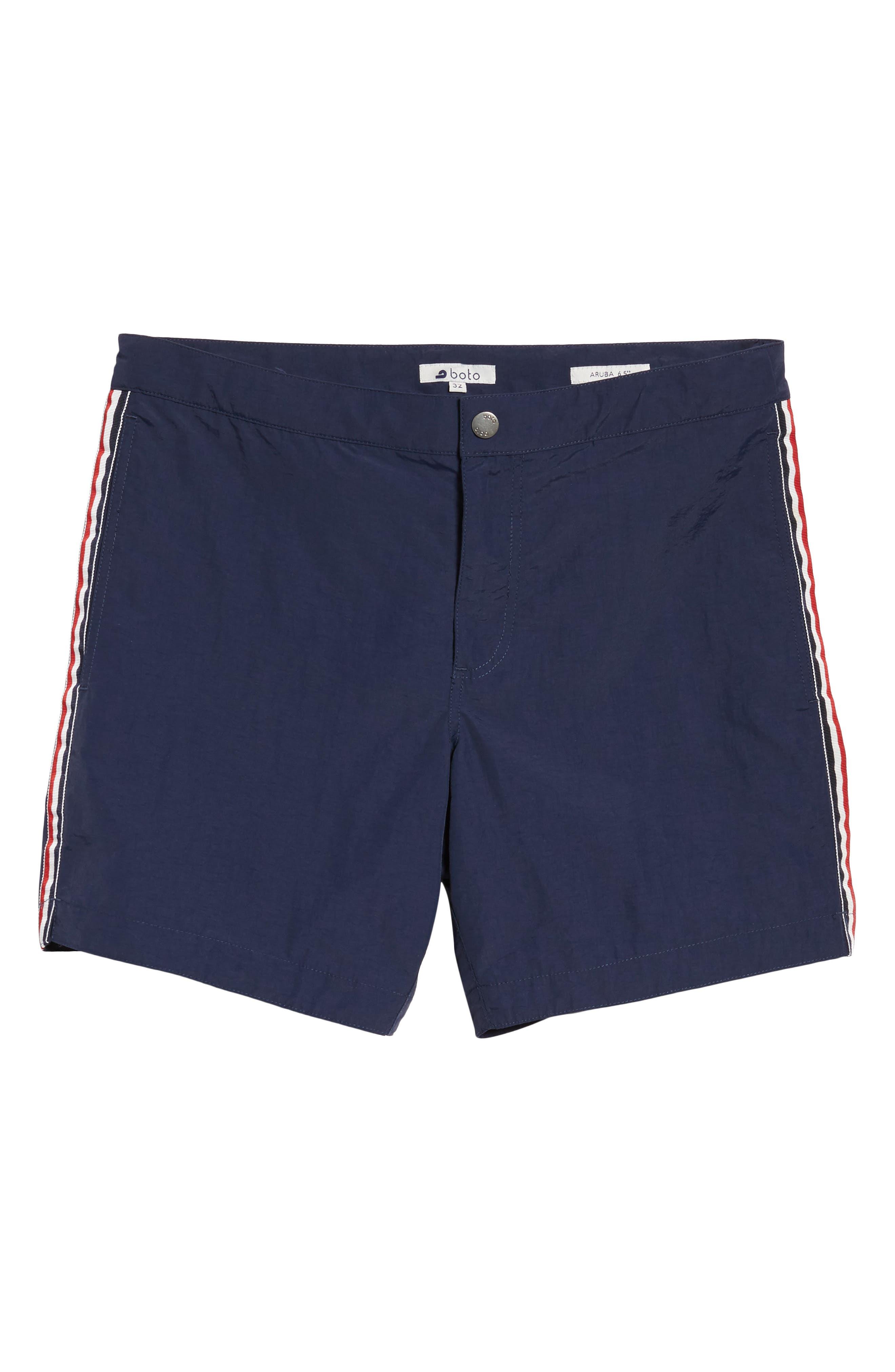 Aruba Tailored Fit French Stripe Swim Trunks,                             Alternate thumbnail 6, color,                             Navy French Stripes