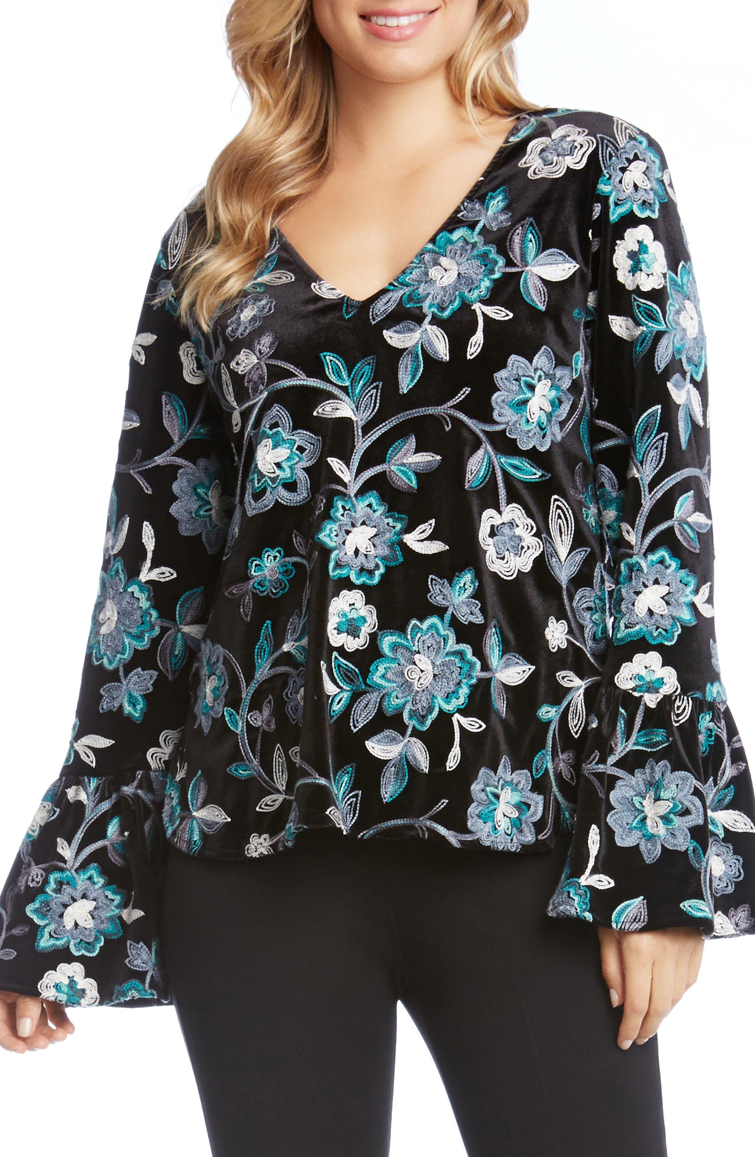 Main Image - Karen Kane Embroidered Floral Velvet Top