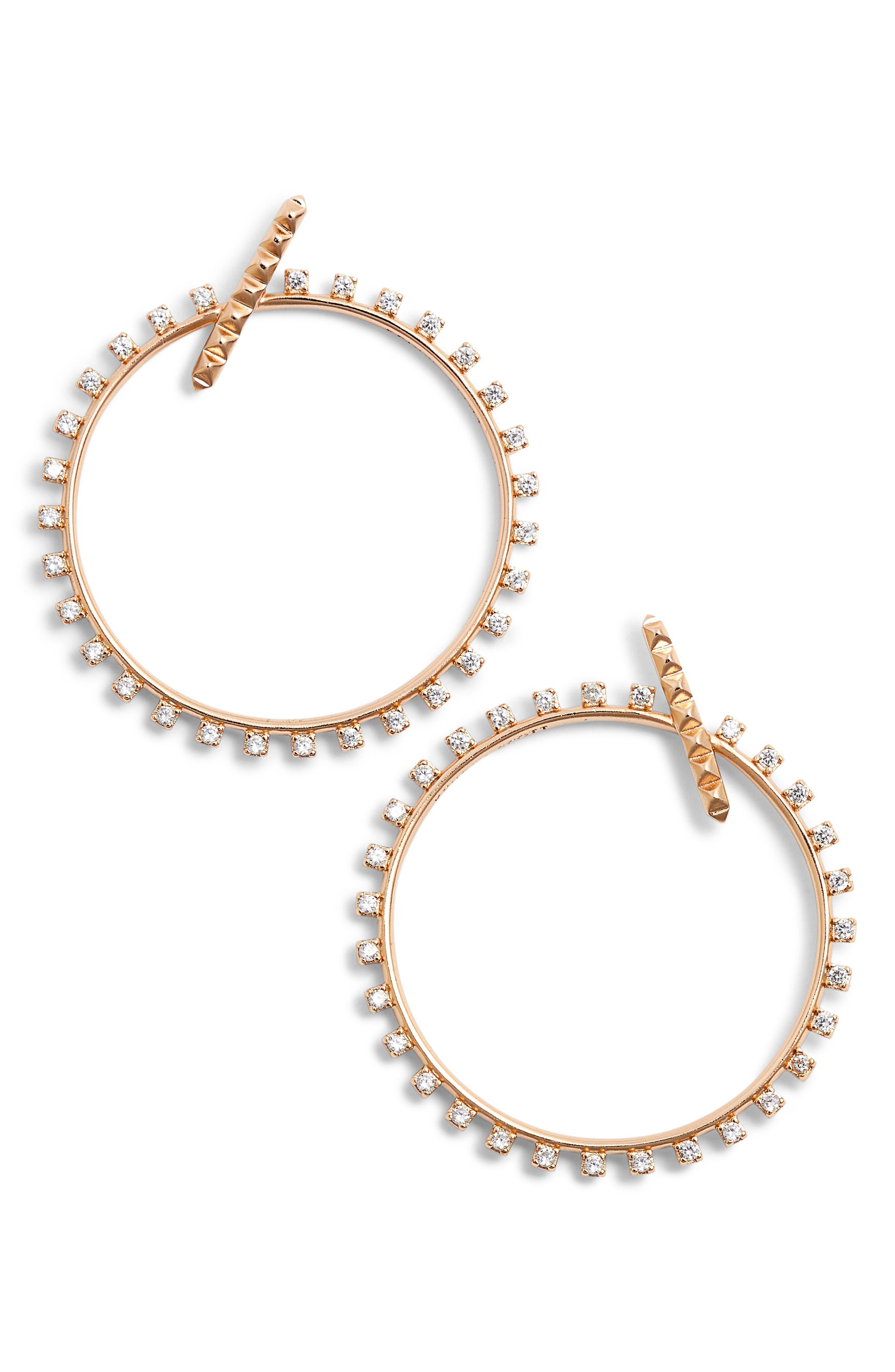 Charlie Grace Hoop Earrings,                         Main,                         color, Rose Gold