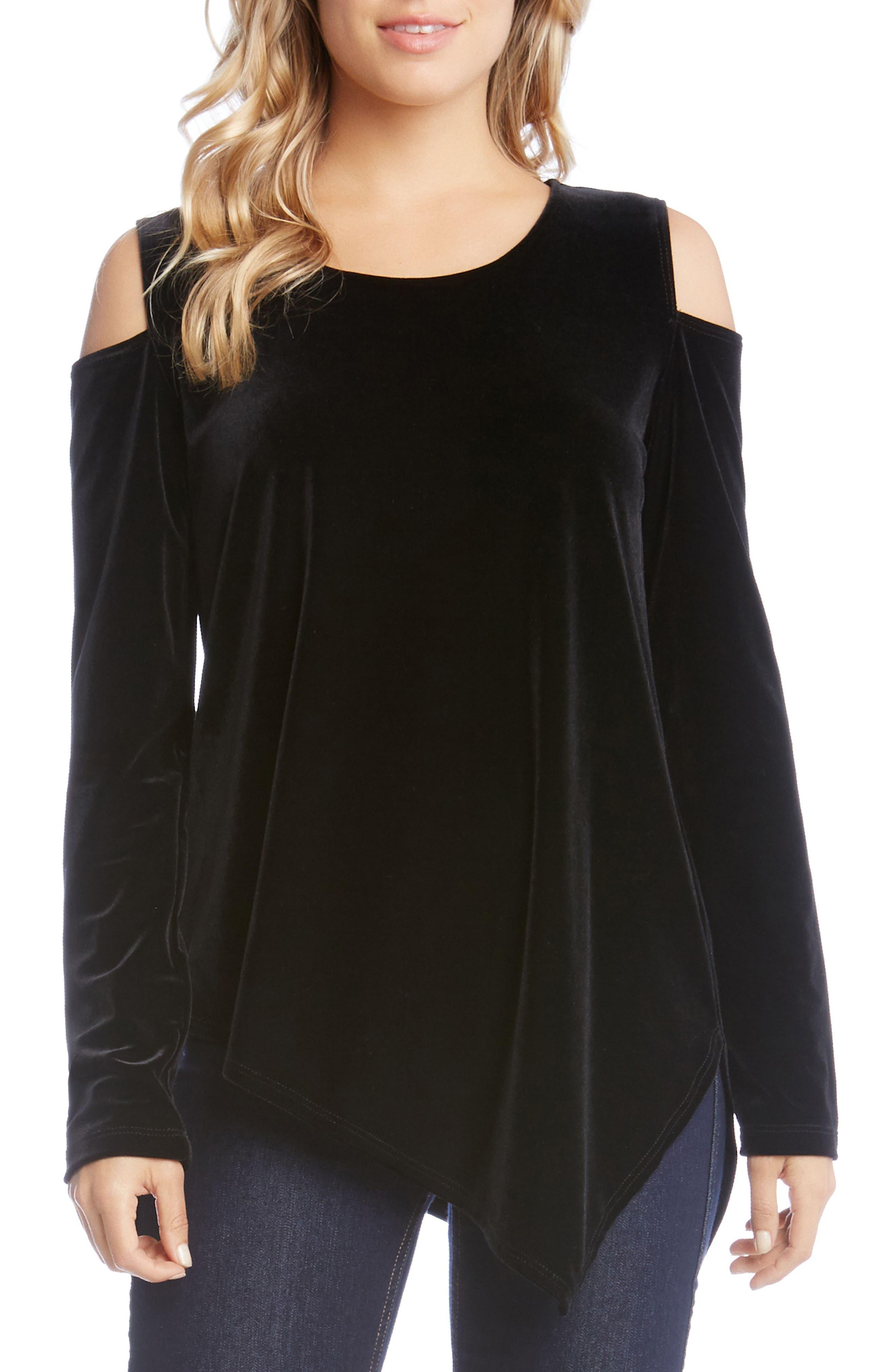 Cold Shoulder Aymmetrical Velvet Top,                         Main,                         color, Black