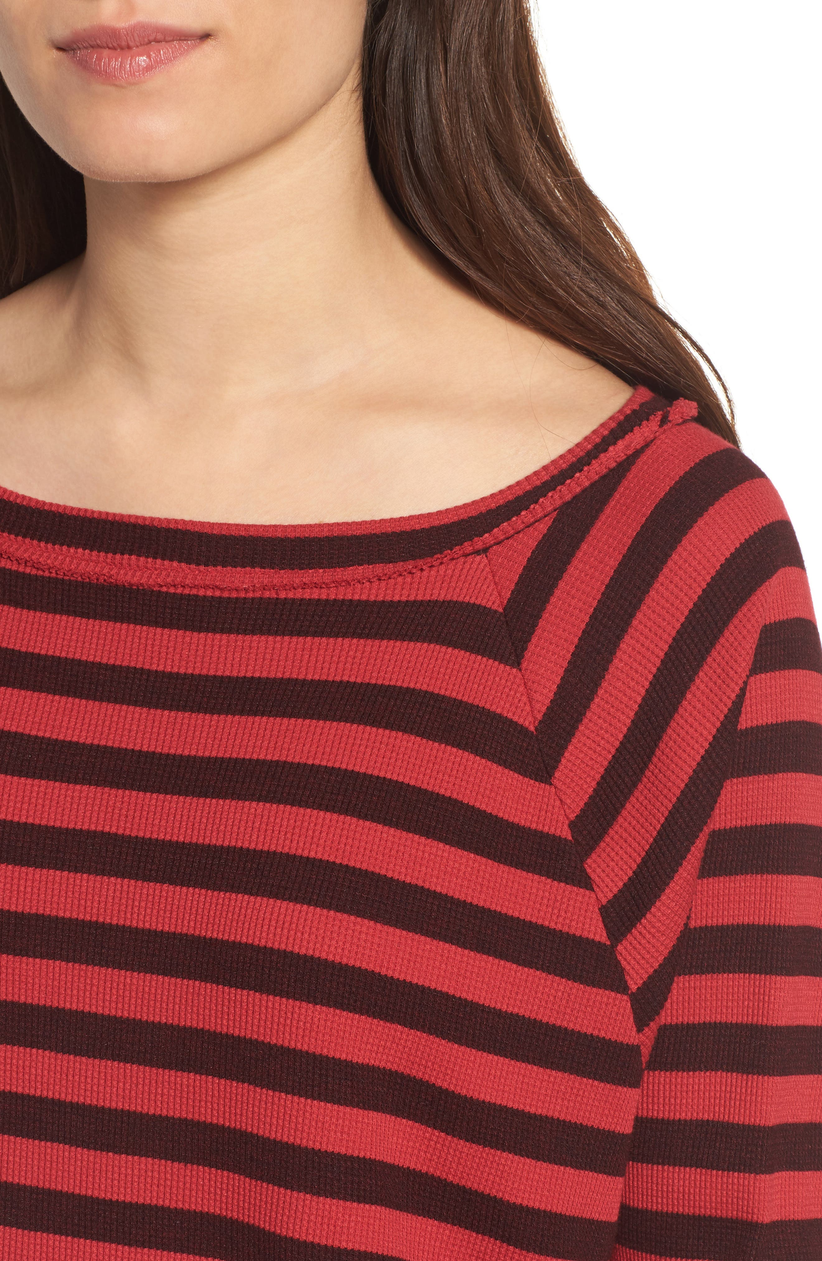 Stripe Thermal Top,                             Alternate thumbnail 4, color,                             Scarlet