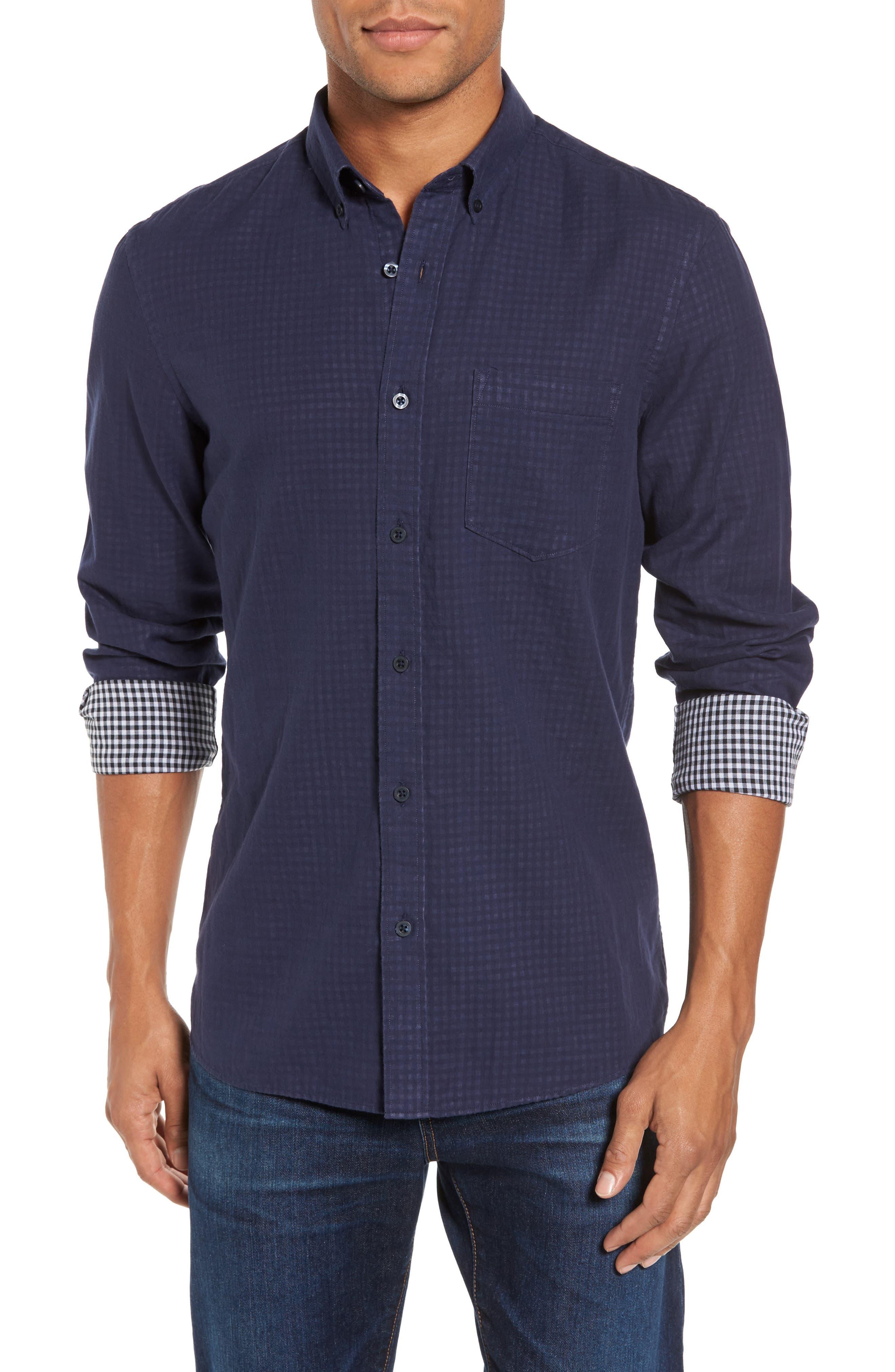 Trim Fit Duofold Sport Shirt,                             Main thumbnail 1, color,                             Navy Iris Gingham Duofold