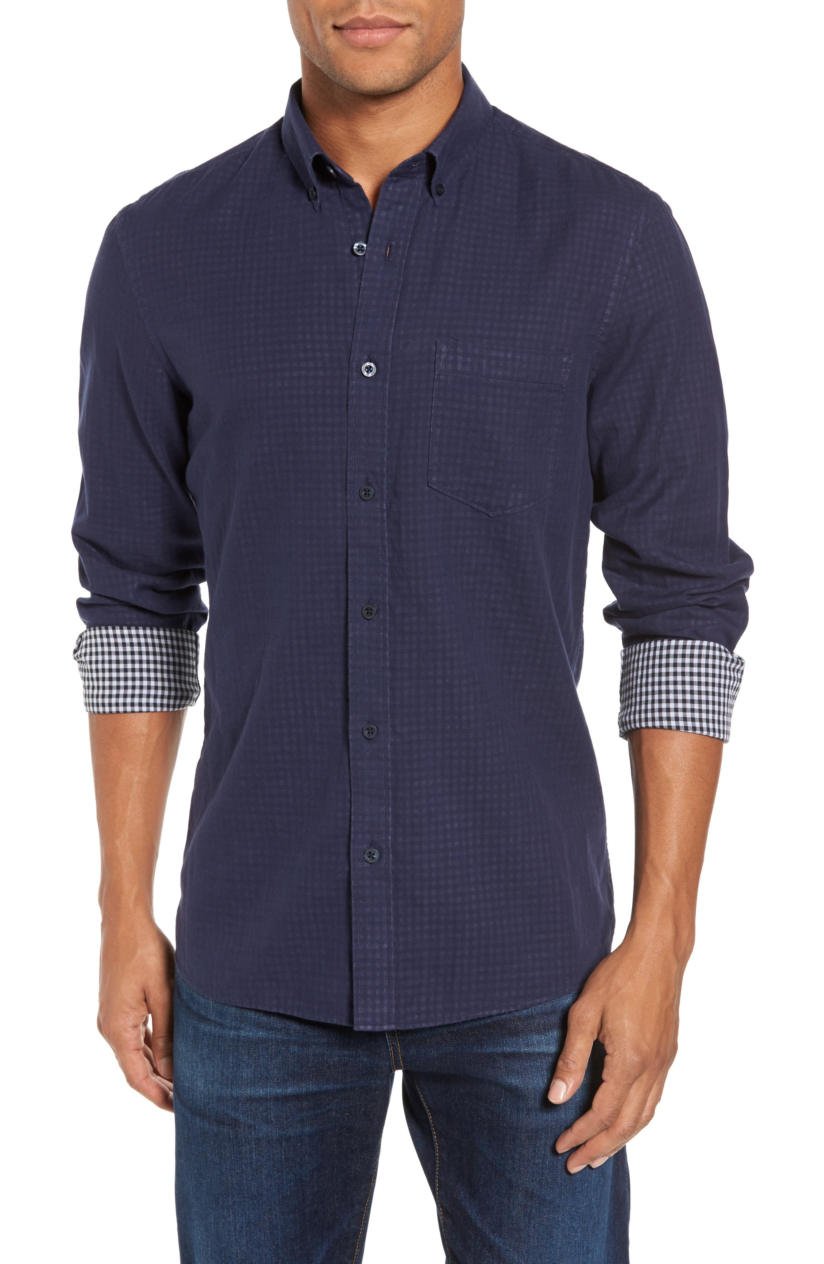Trim Fit Duofold Sport Shirt,                         Main,                         color, Navy Iris Gingham Duofold