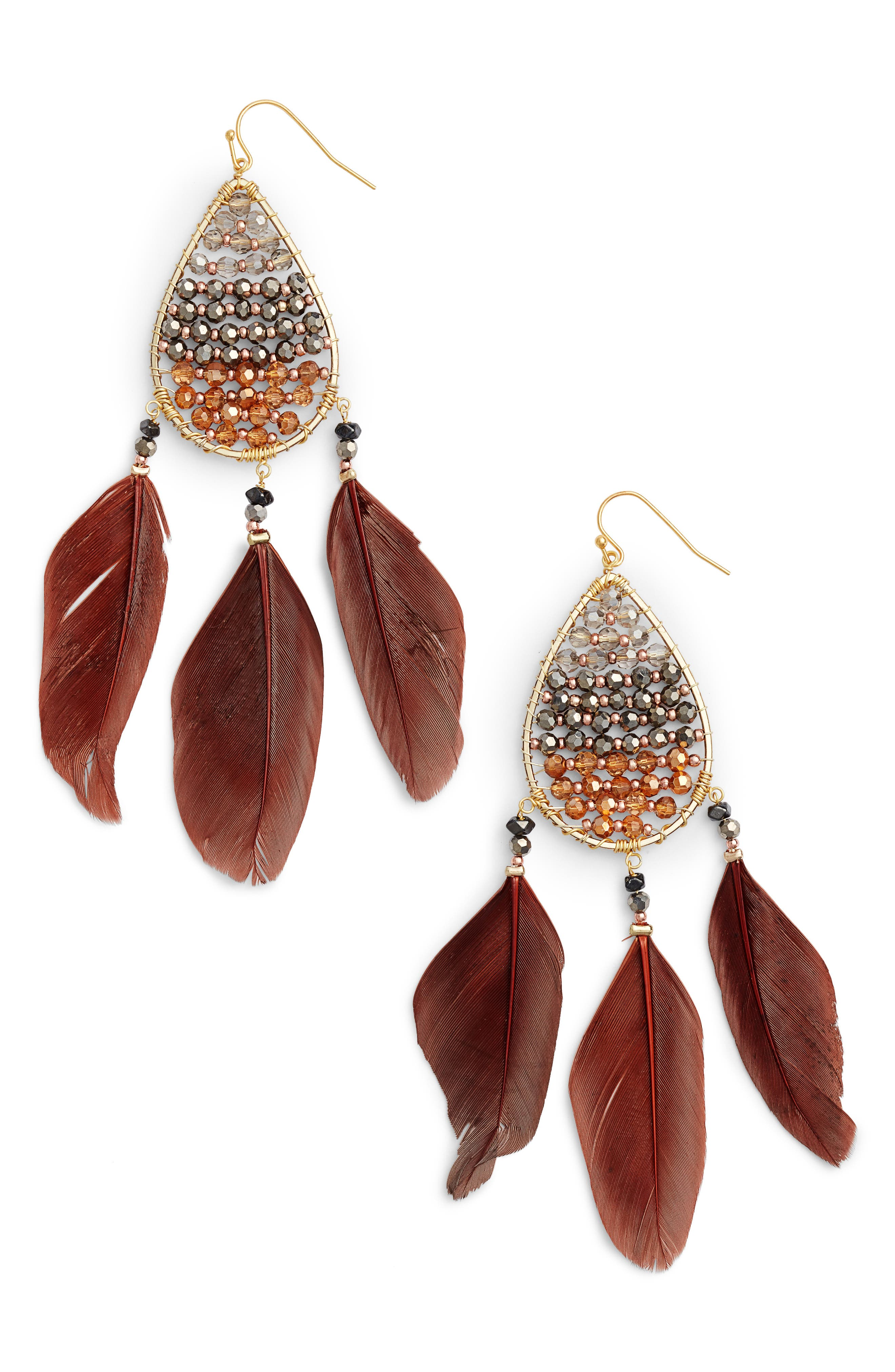 Teardrop Feather Earrings,                         Main,                         color, Gold