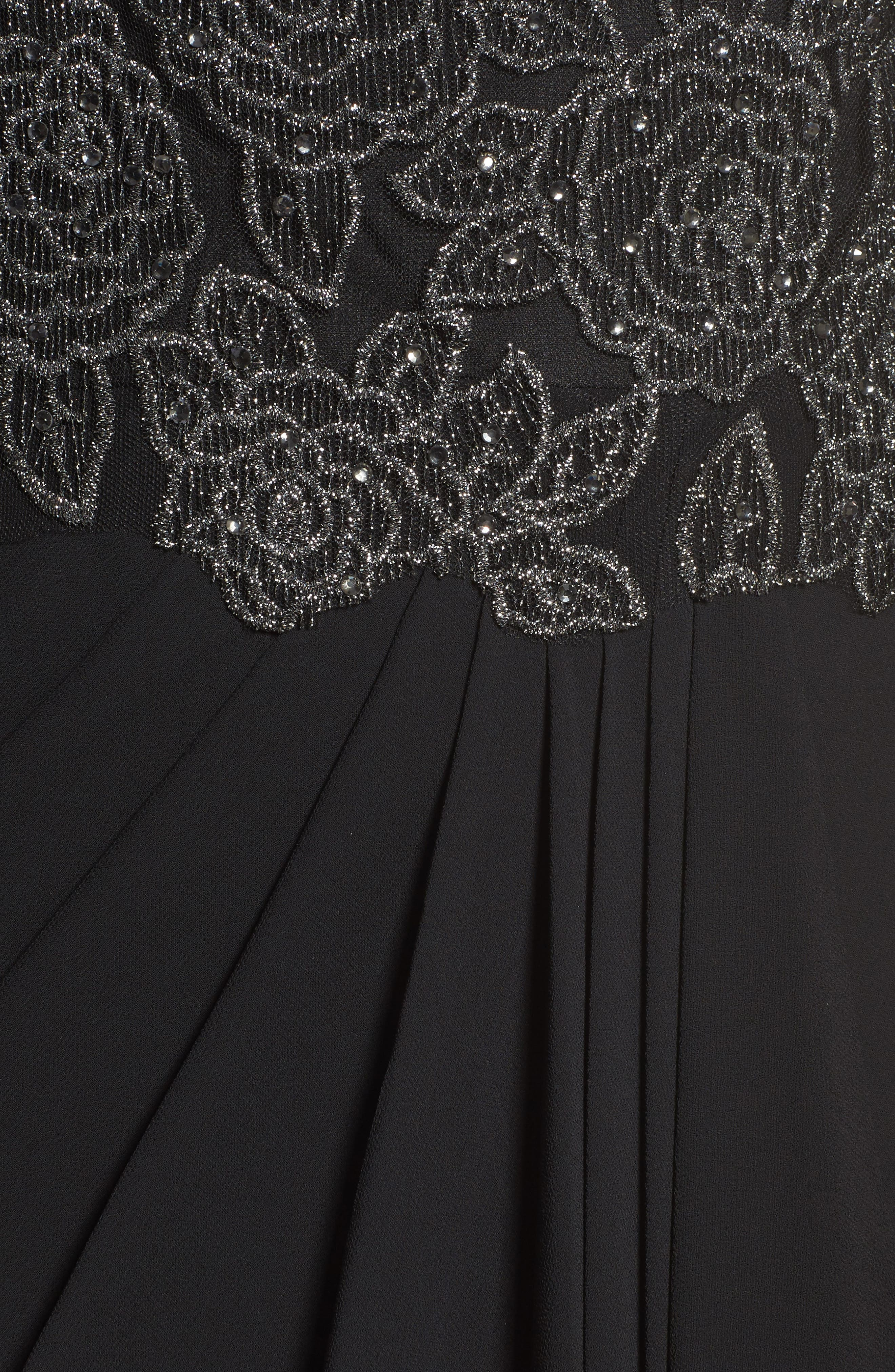 Metallic Embroidered A-Line Gown,                             Alternate thumbnail 5, color,                             Black