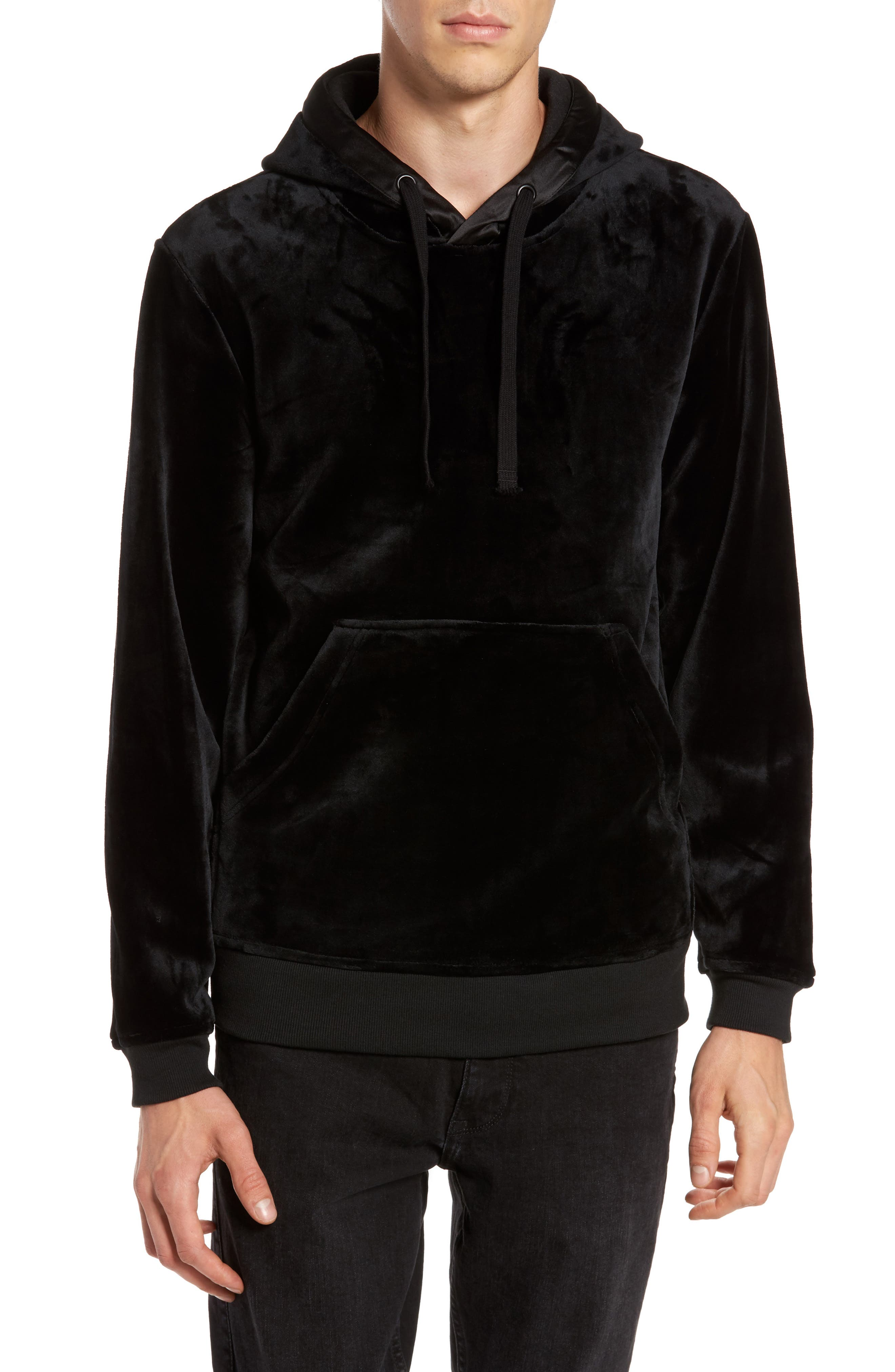 Fuzzy Pullover Hoodie,                         Main,                         color, Black