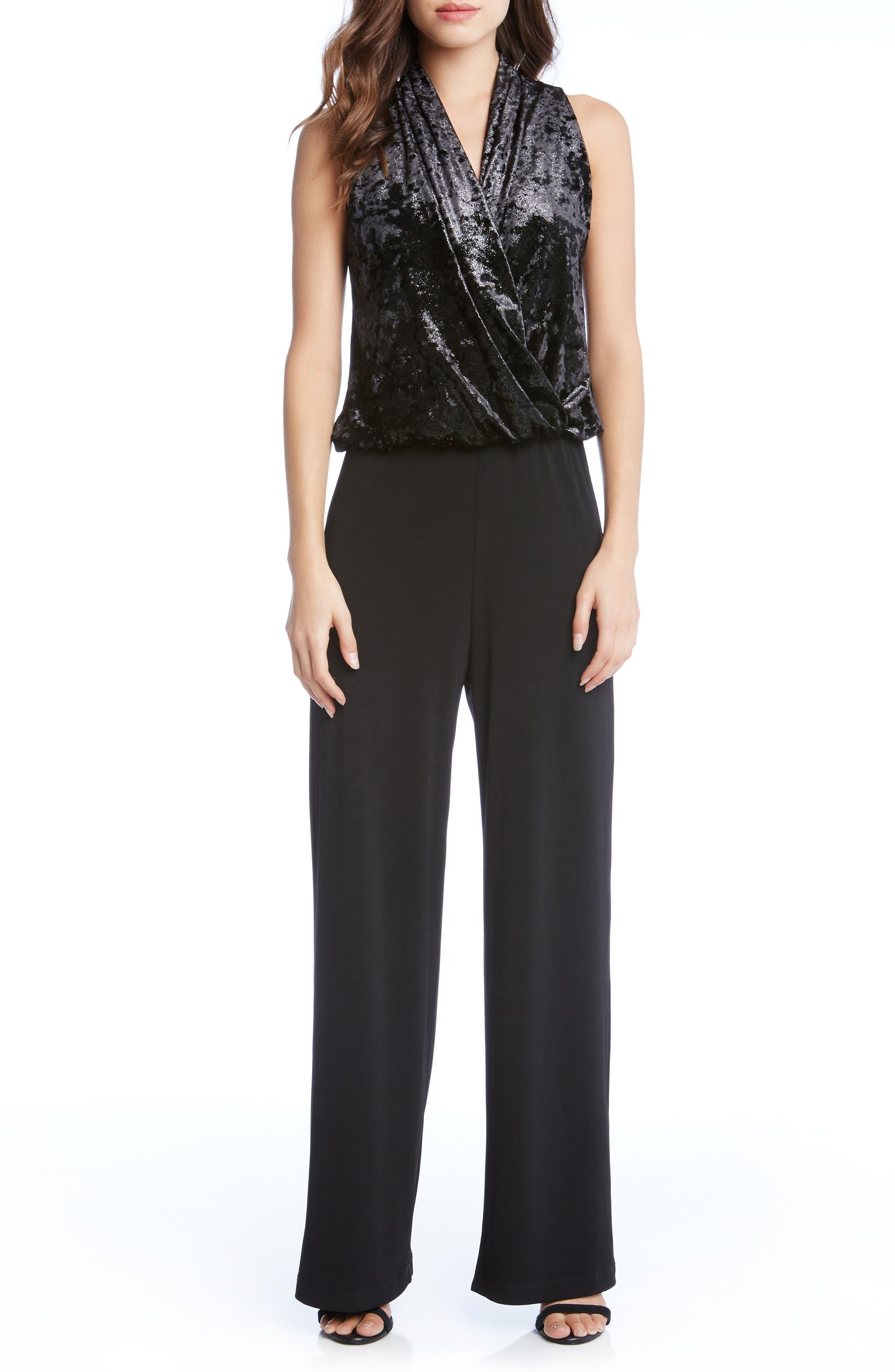 Palazzo Velvet & Crepe Jumpsuit,                             Main thumbnail 1, color,                             Black