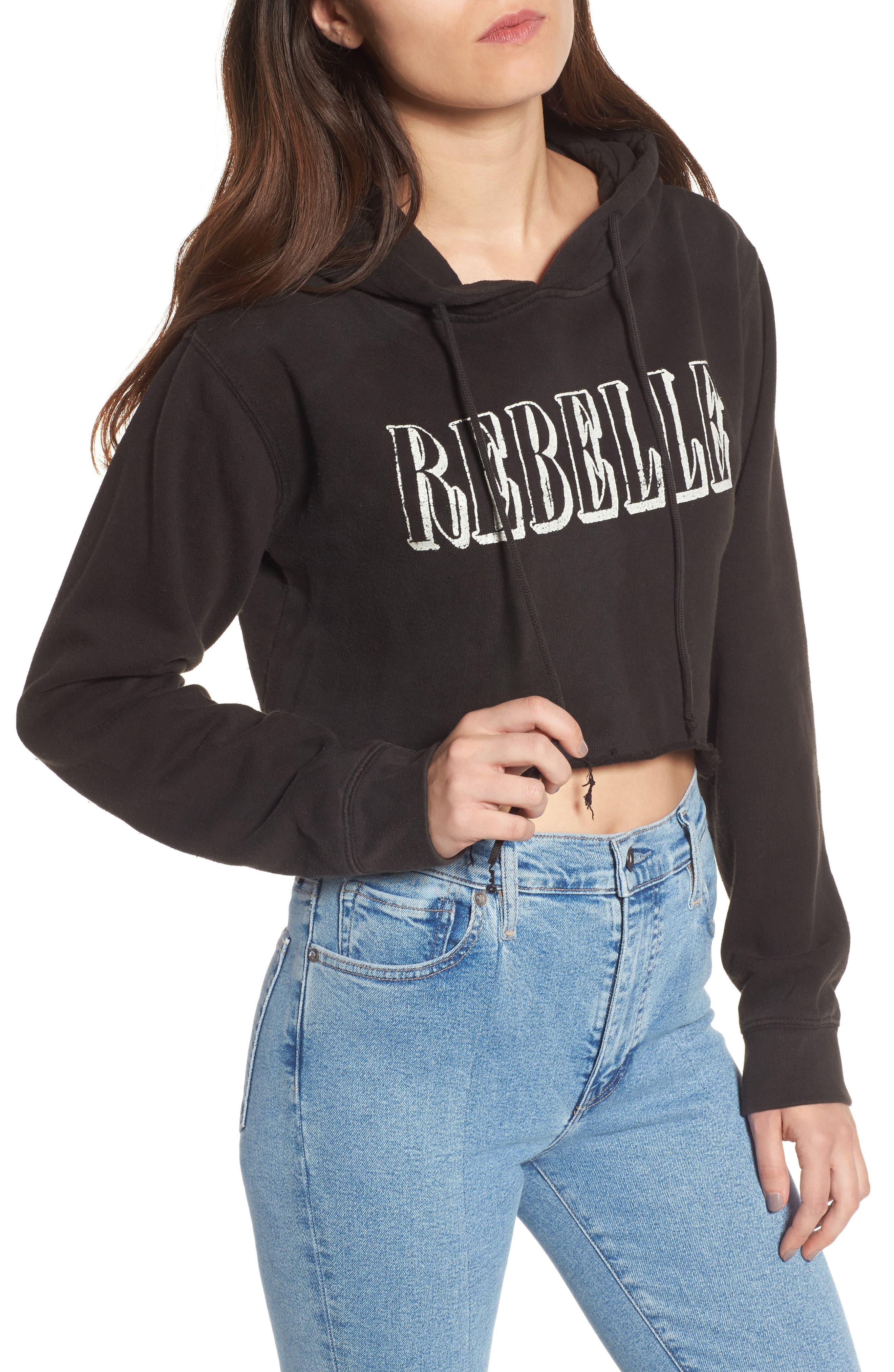 Rebelle Crop Hoodie,                             Main thumbnail 1, color,                             Black