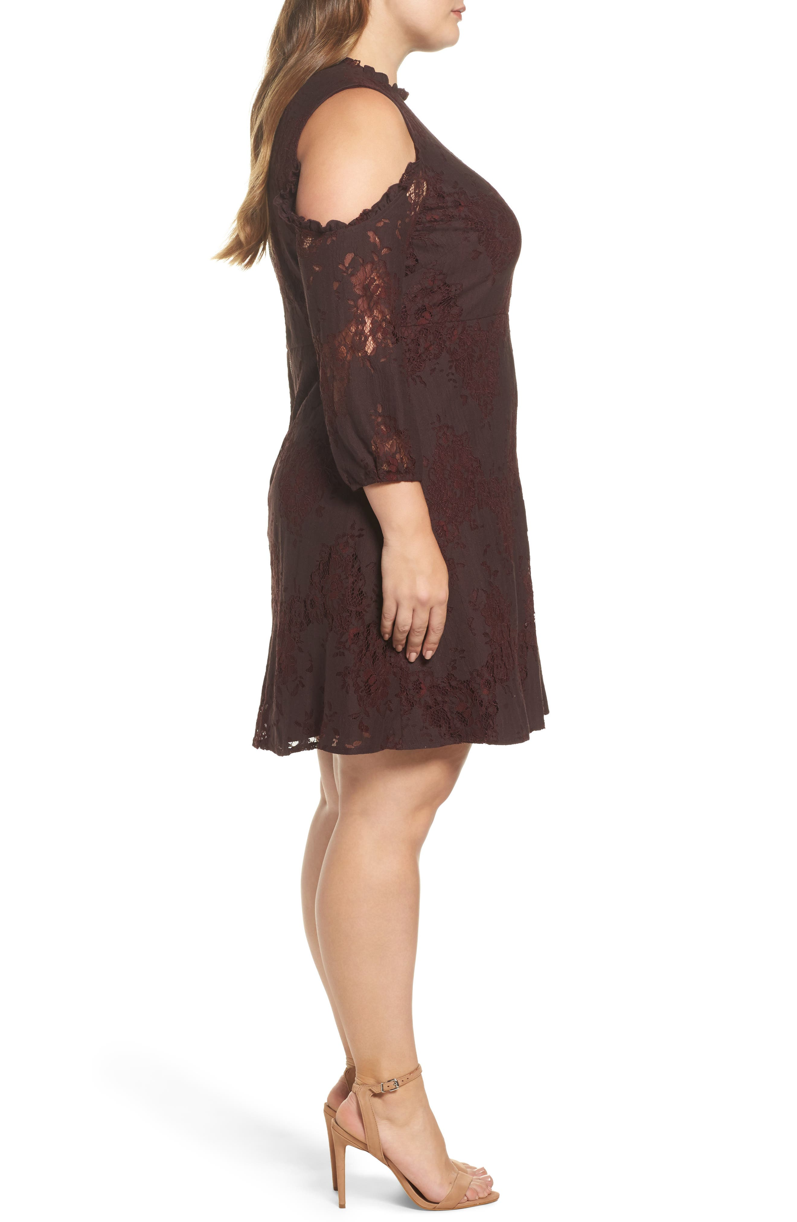 Cold Shoulder Lace A-Line Dress,                             Alternate thumbnail 3, color,                             Burgundy