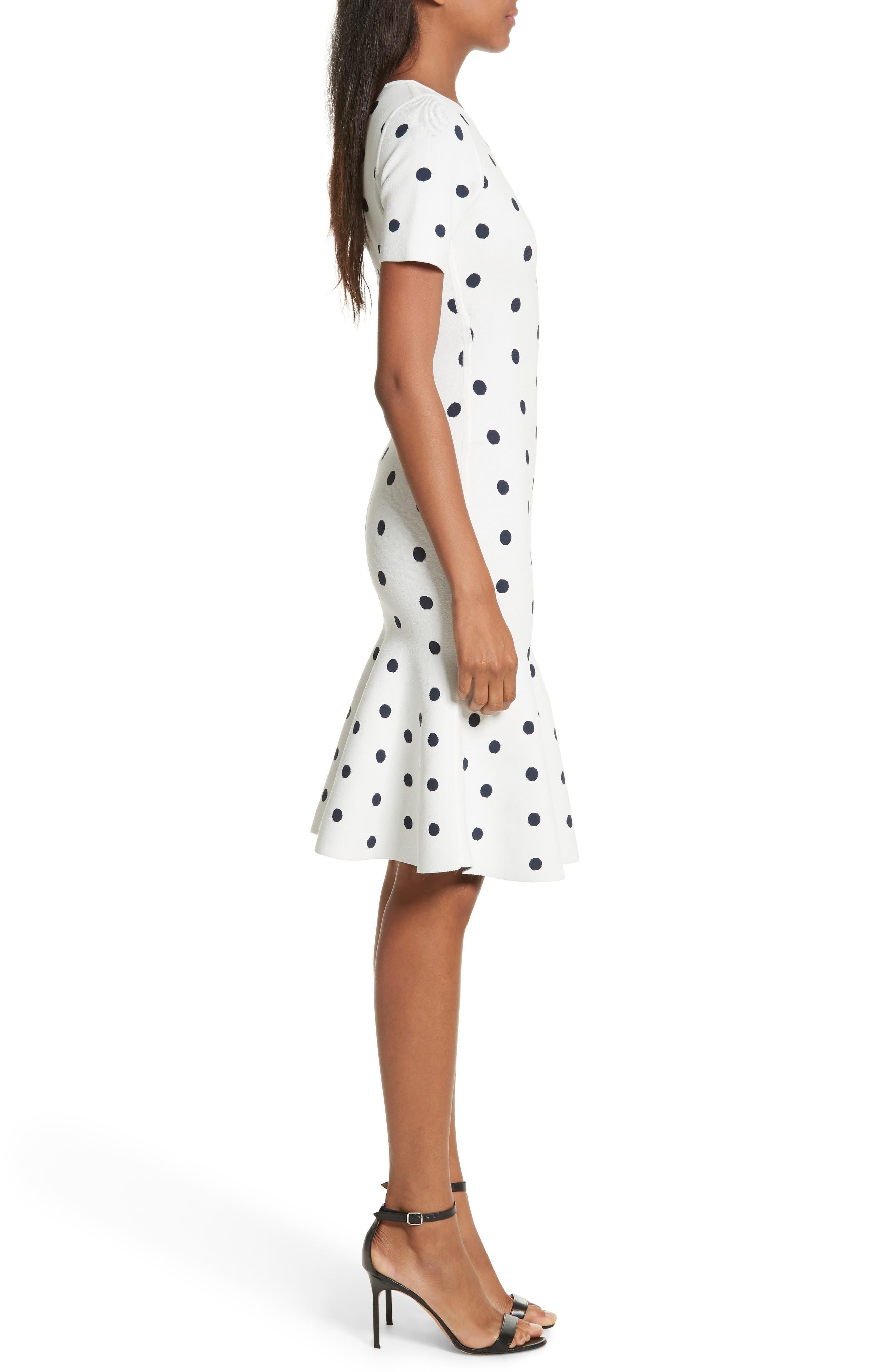 Polka Dot Mermaid Dress,                             Alternate thumbnail 3, color,                             White/ Navy