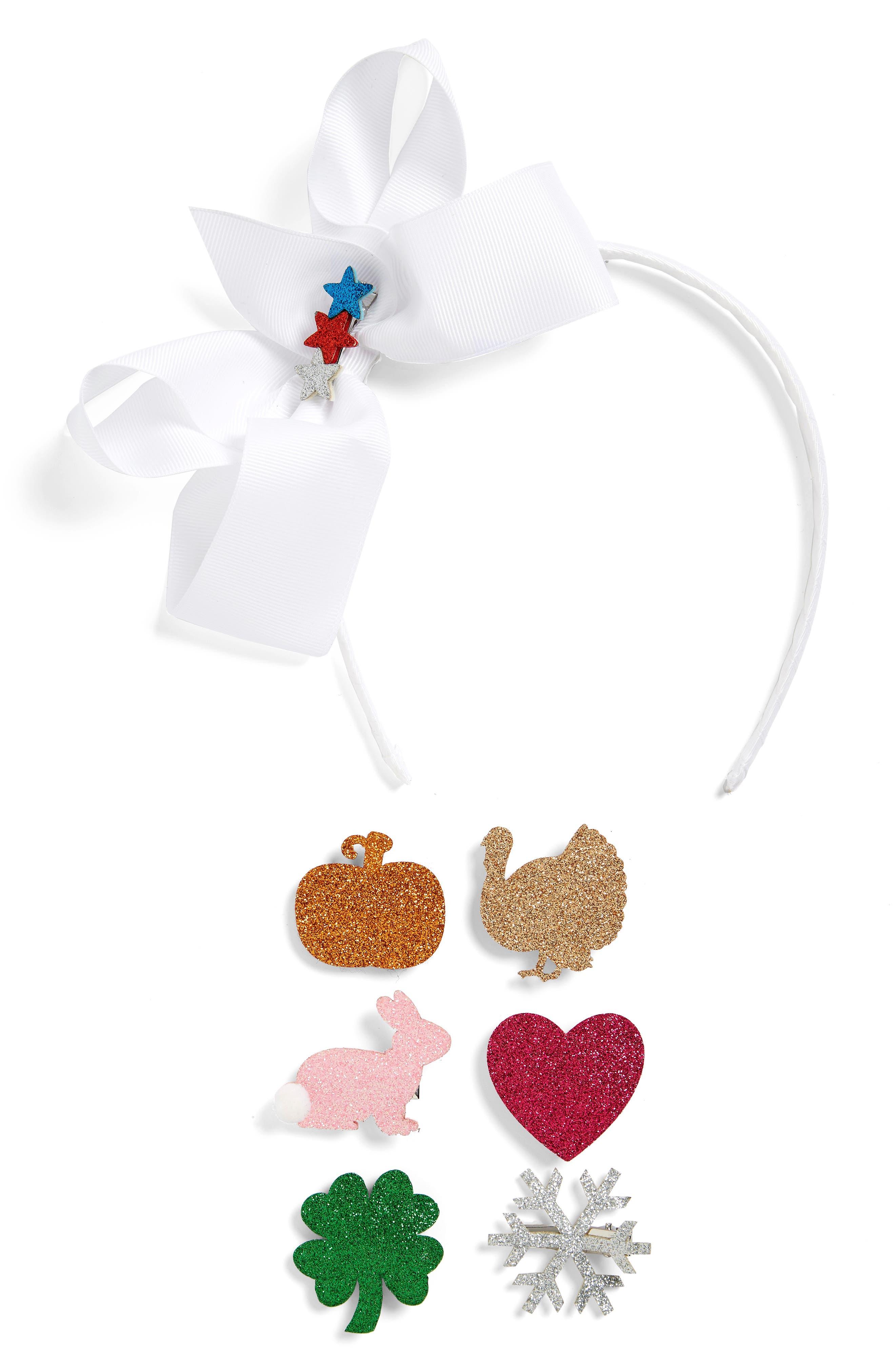 Bow Headband & Hair Clips Set,                             Main thumbnail 1, color,                             Whie Combo