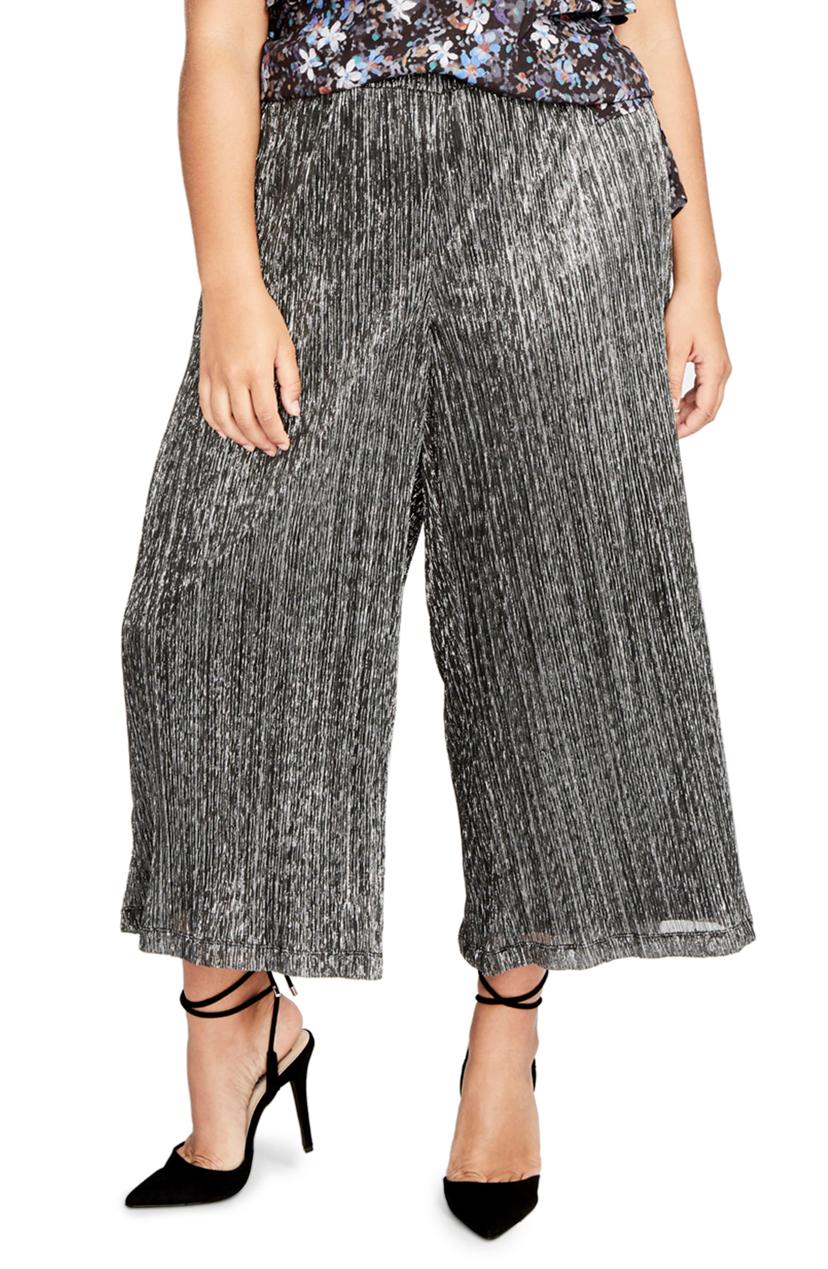 Vicky Wide Leg Crop Pants,                             Main thumbnail 1, color,                             Black Combo