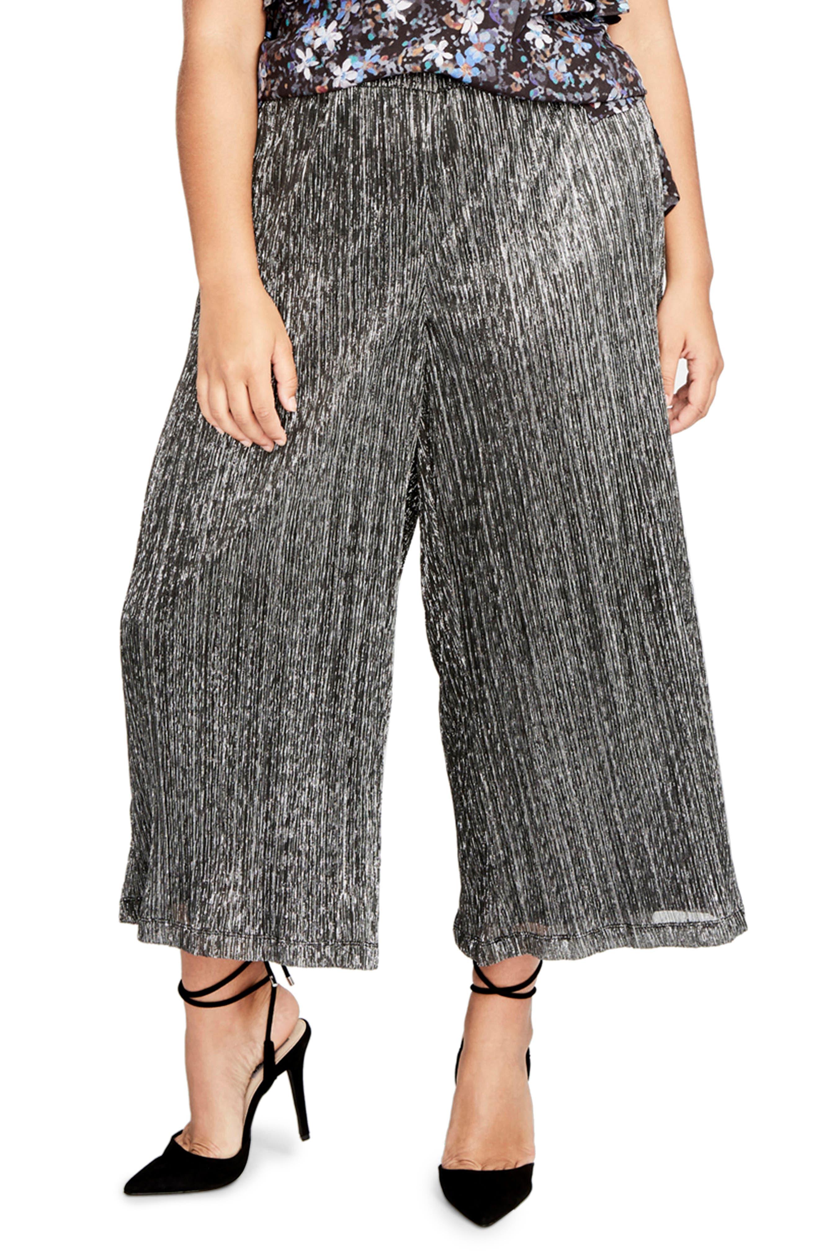 Vicky Wide Leg Crop Pants,                         Main,                         color, Black Combo