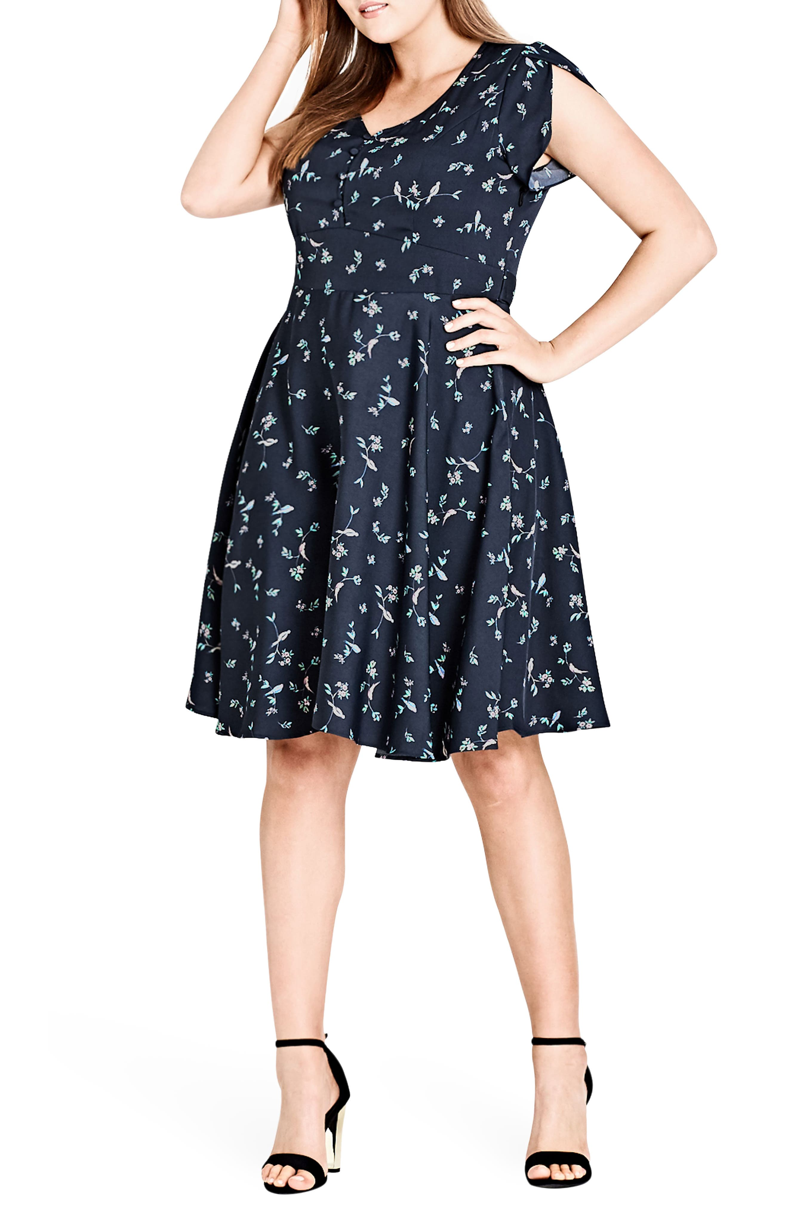 Main Image - City Chic Sweet Tweet Fit & Flare Dress (Plus Size)