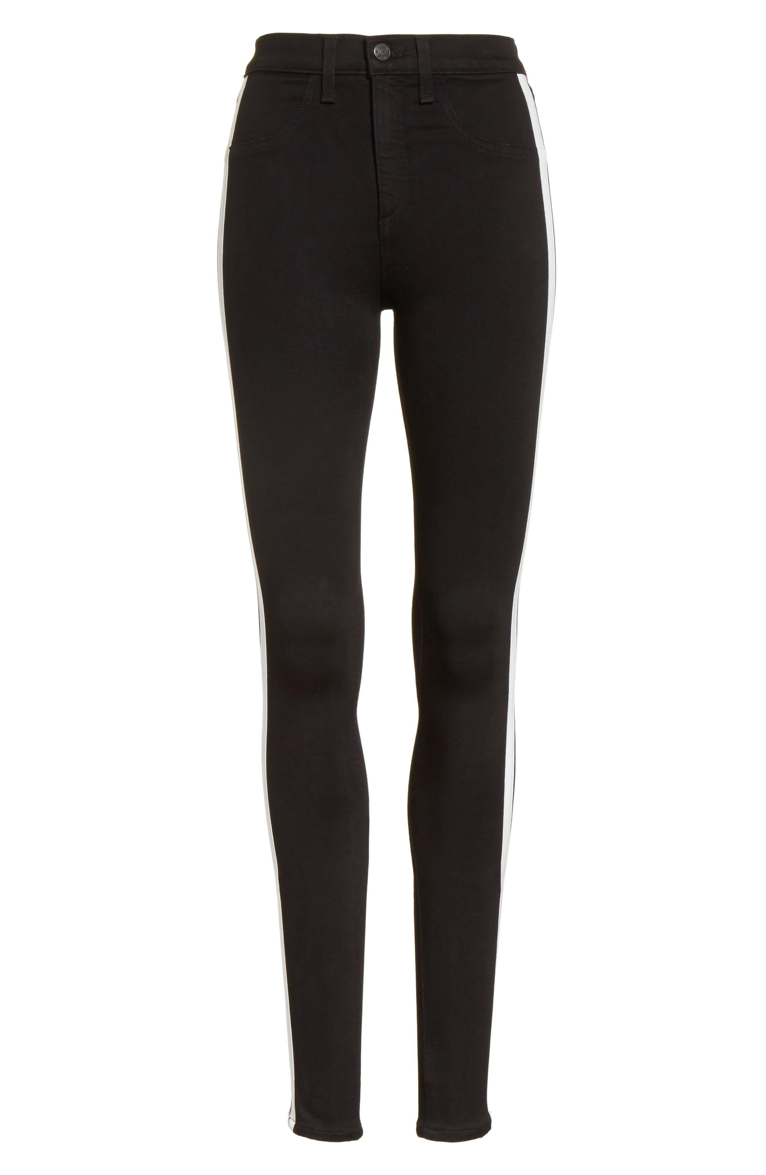 Mito High Waist Skinny Jeans,                             Alternate thumbnail 6, color,                             Black