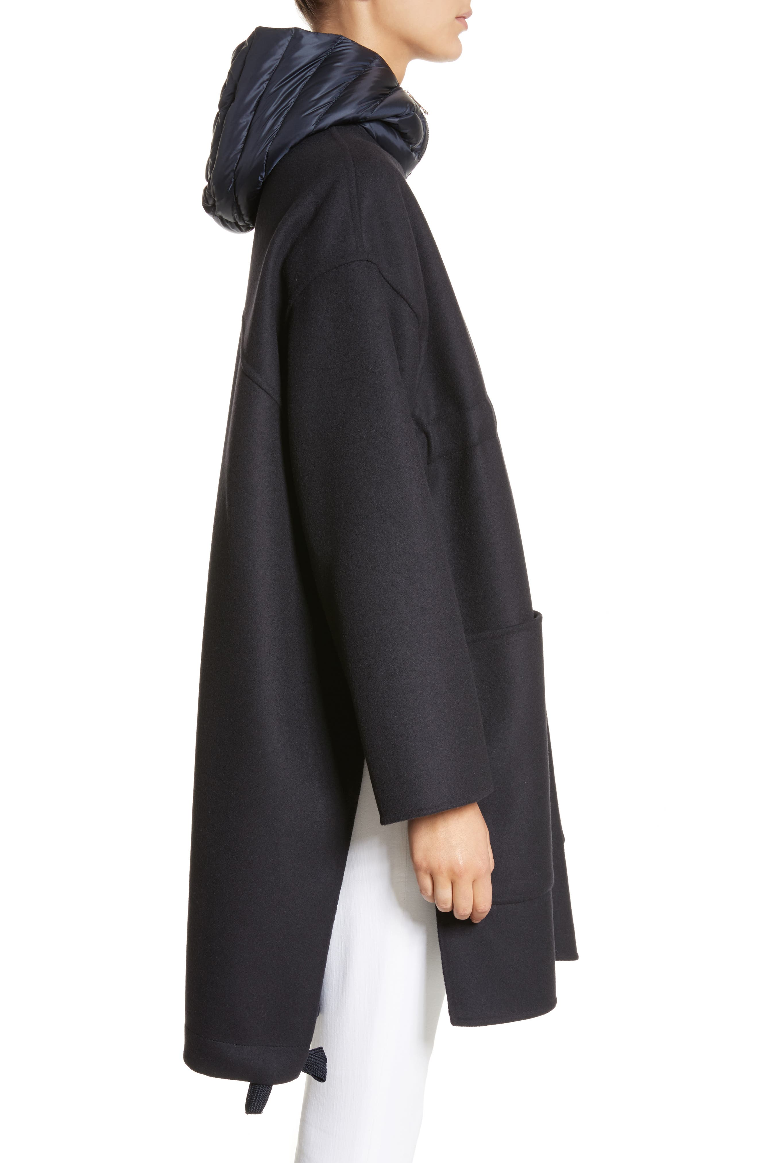 Grenat Wool & Cashmere Hooded Jacket,                             Alternate thumbnail 3, color,                             Navy