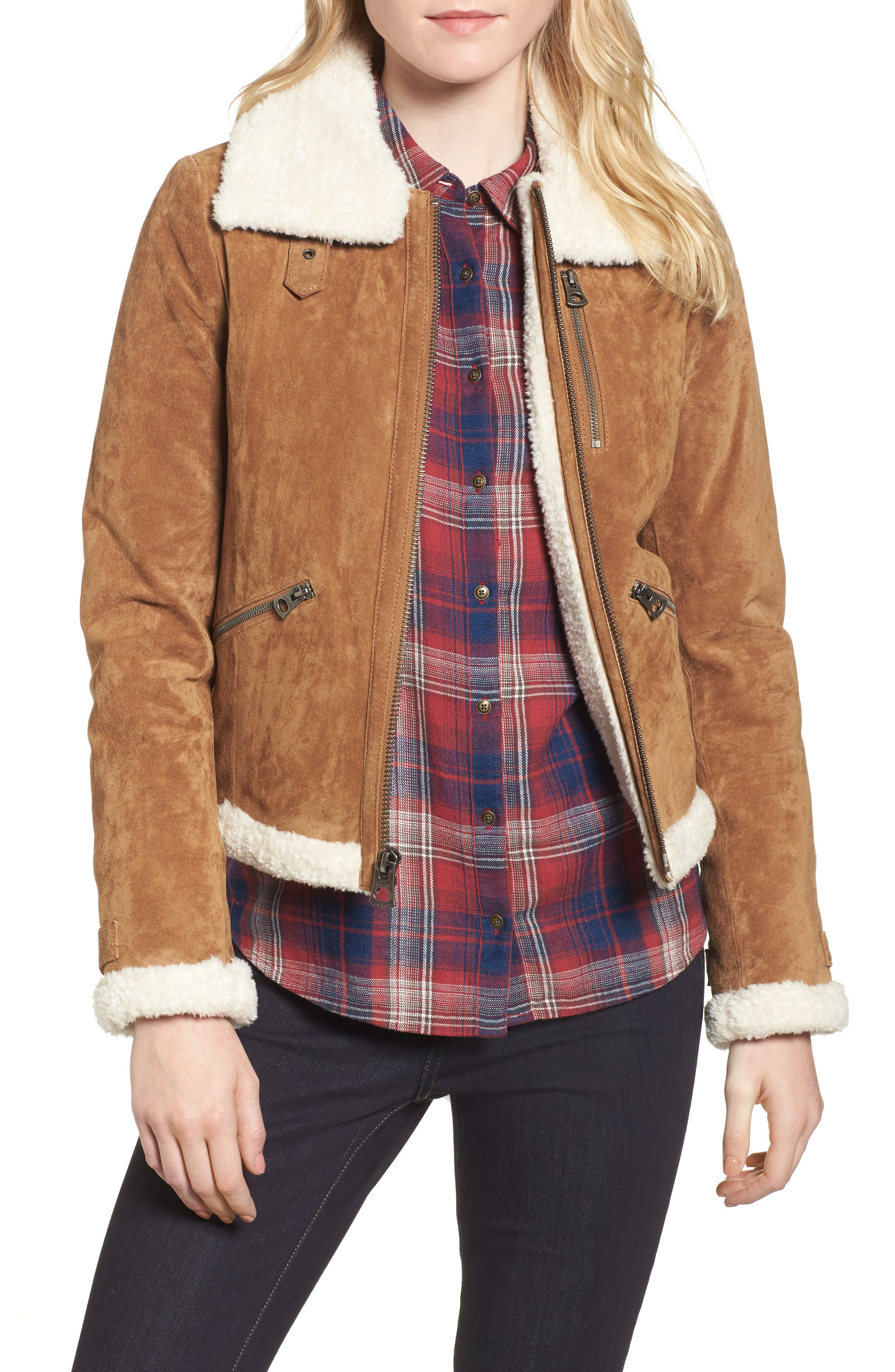 Leather Jacket with Faux Fur Trim,                             Main thumbnail 1, color,                             Chestnut