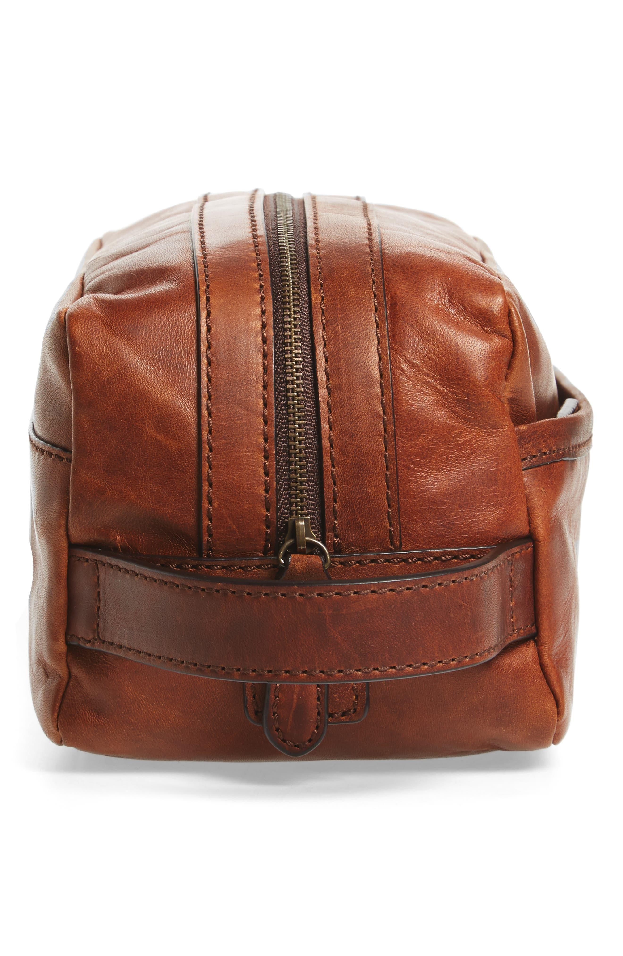 'Logan' Leather Travel Kit,                             Alternate thumbnail 3, color,                             Cognac