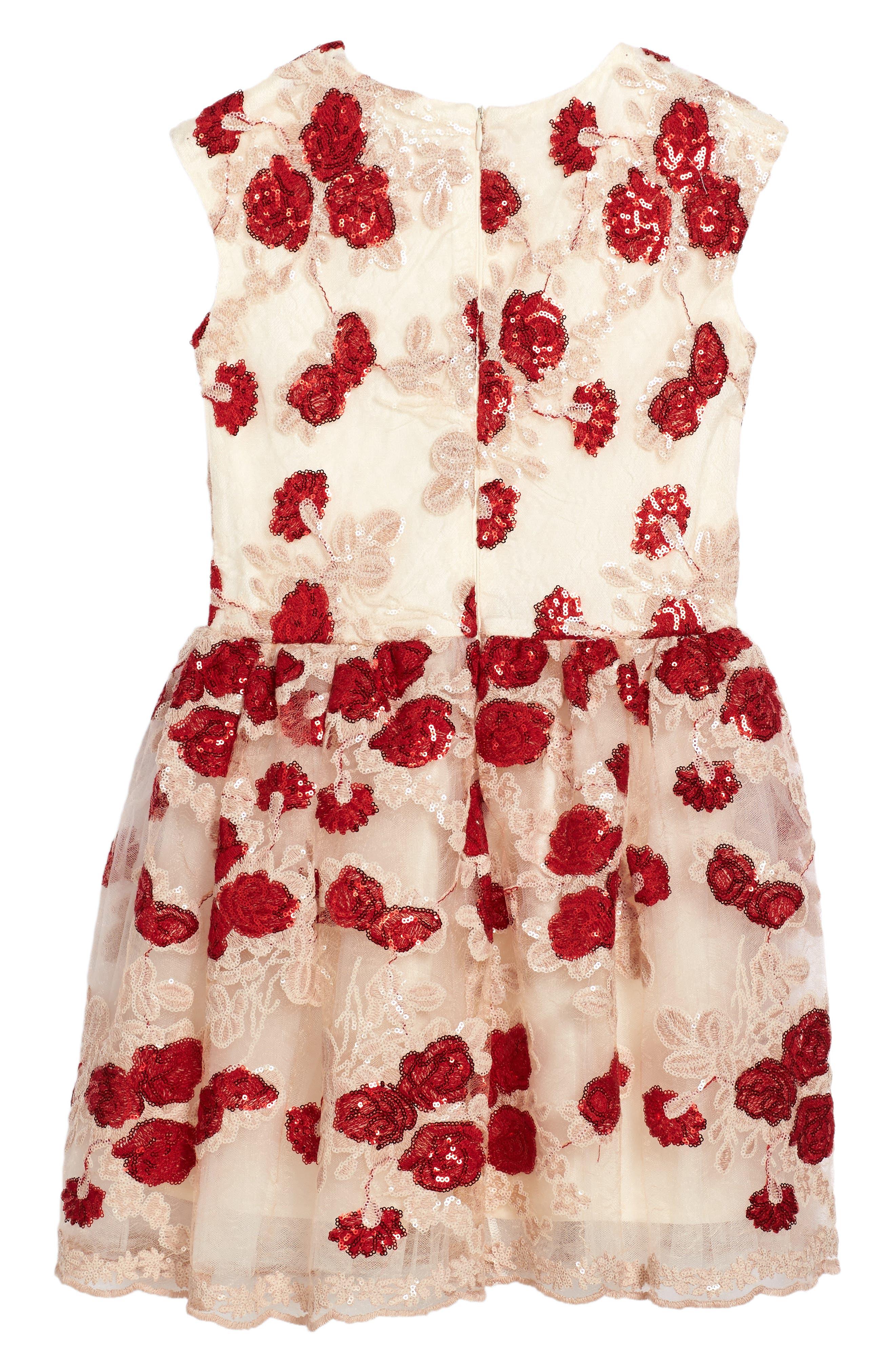 Floral Sequin Mesh Dress,                             Alternate thumbnail 2, color,                             Red
