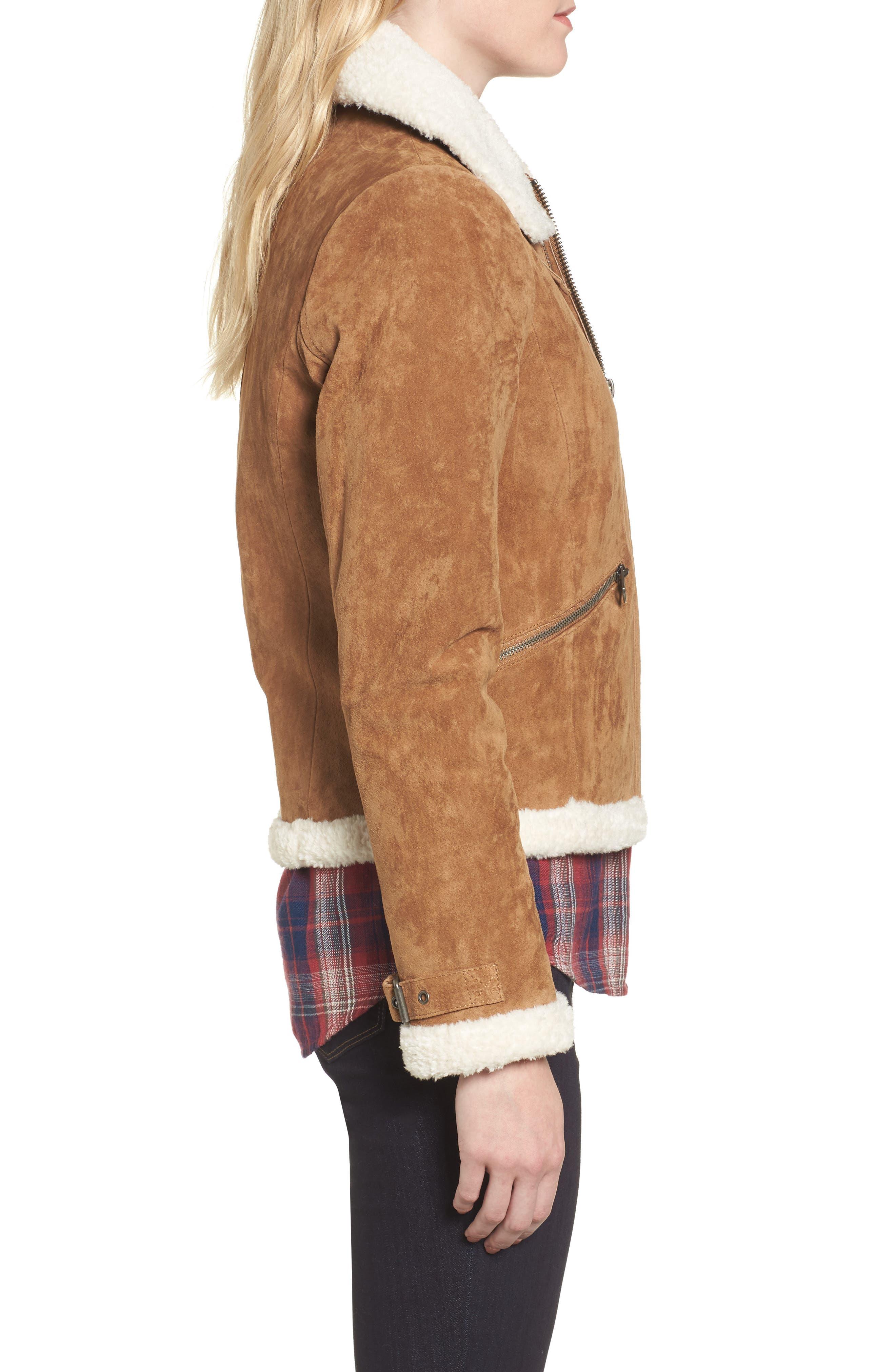 Leather Jacket with Faux Fur Trim,                             Alternate thumbnail 3, color,                             Chestnut