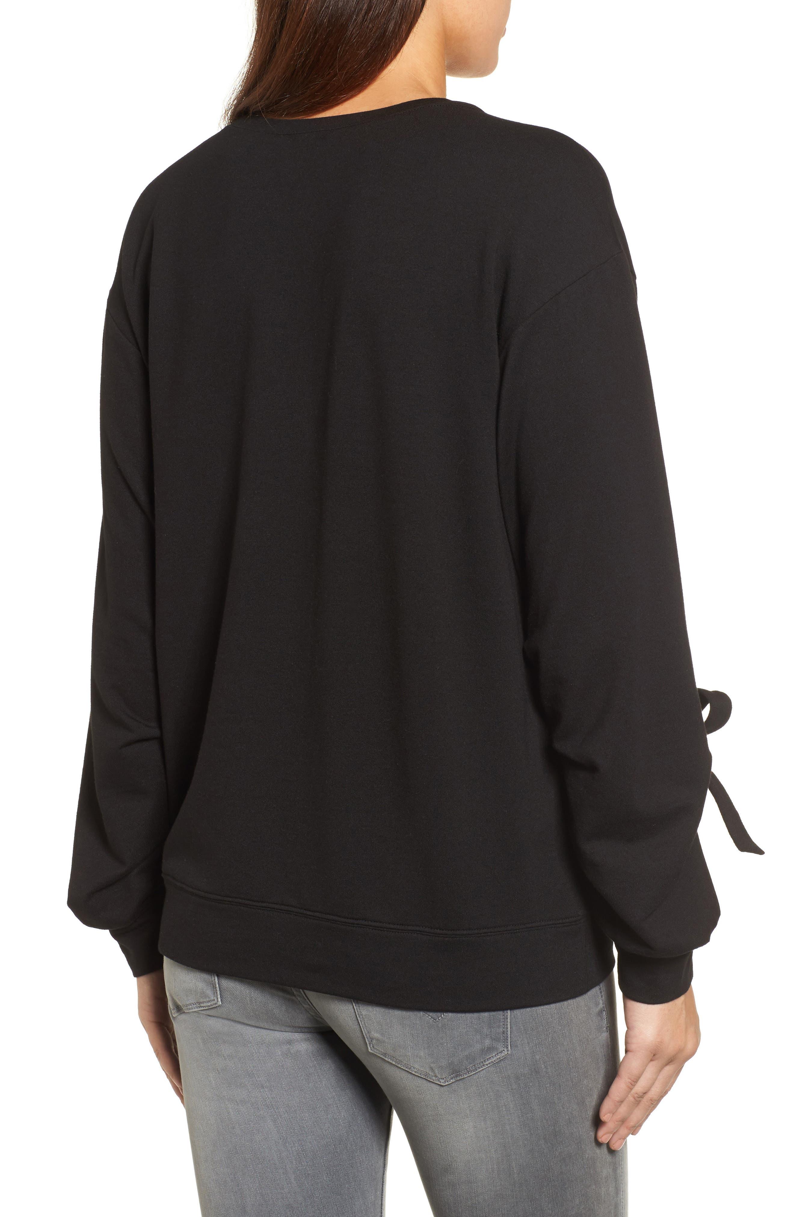 Grommet Tie Sleeve Sweatshirt,                             Alternate thumbnail 2, color,                             Black