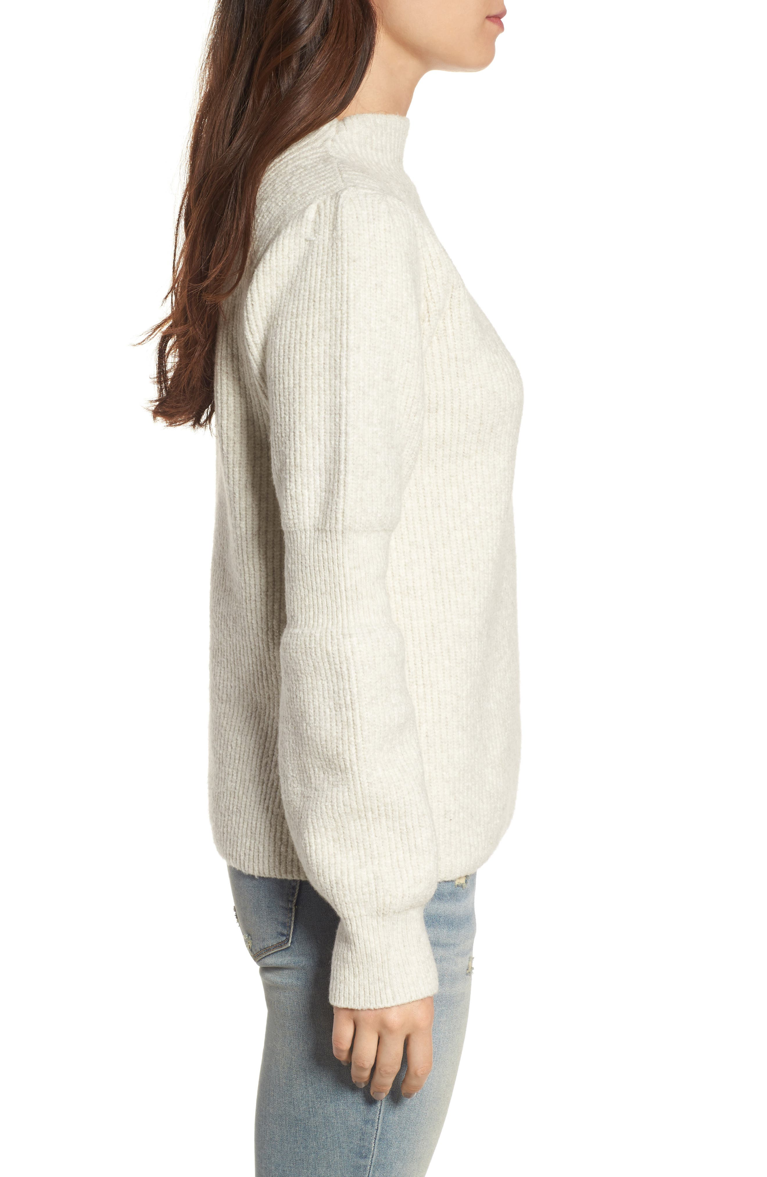 Ribbed Mock Neck Sweater,                             Alternate thumbnail 3, color,                             Beige Oatmeal Heather
